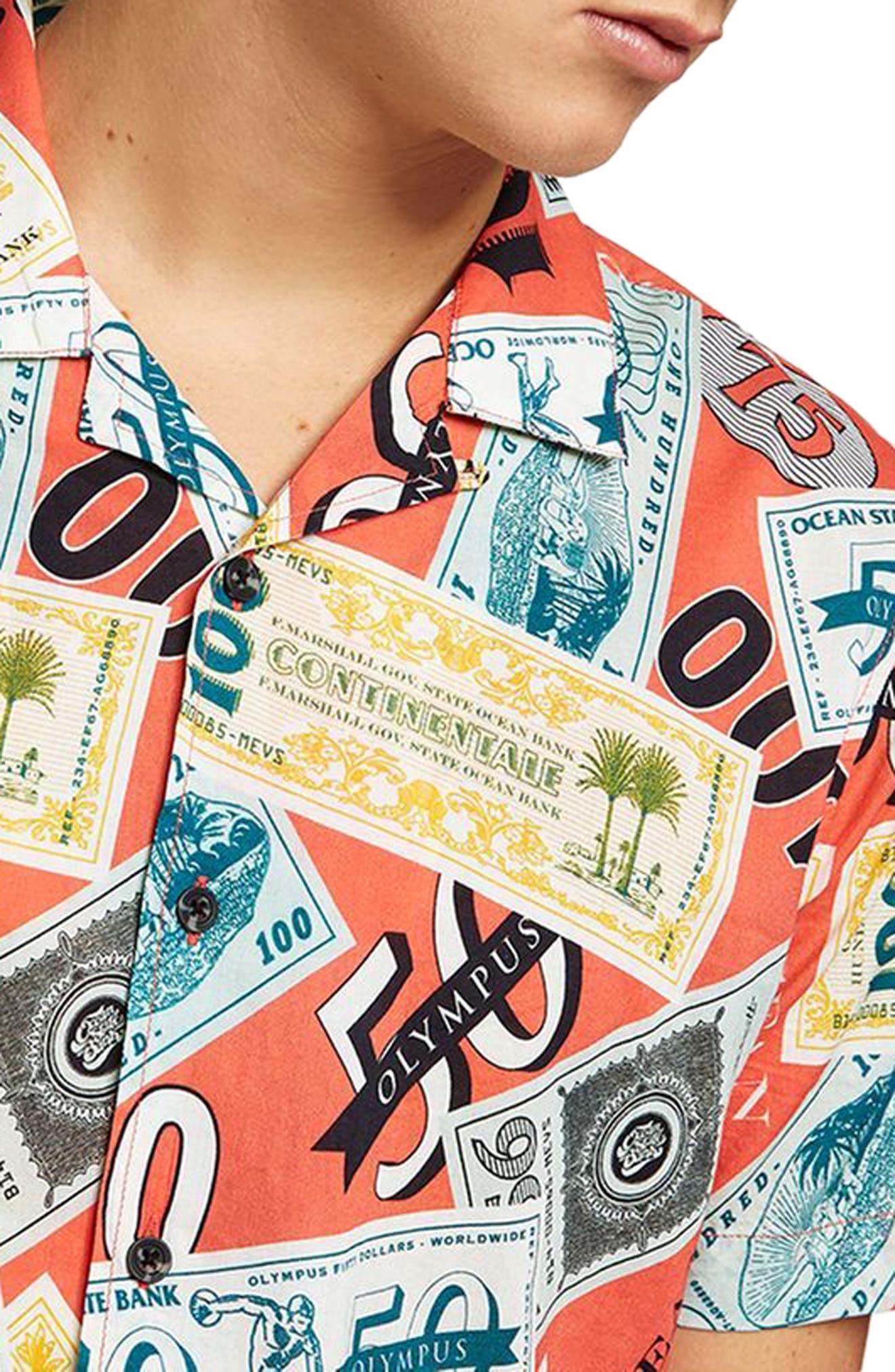 Classic Fit Money Print Woven Shirt,                             Alternate thumbnail 3, color,                             600