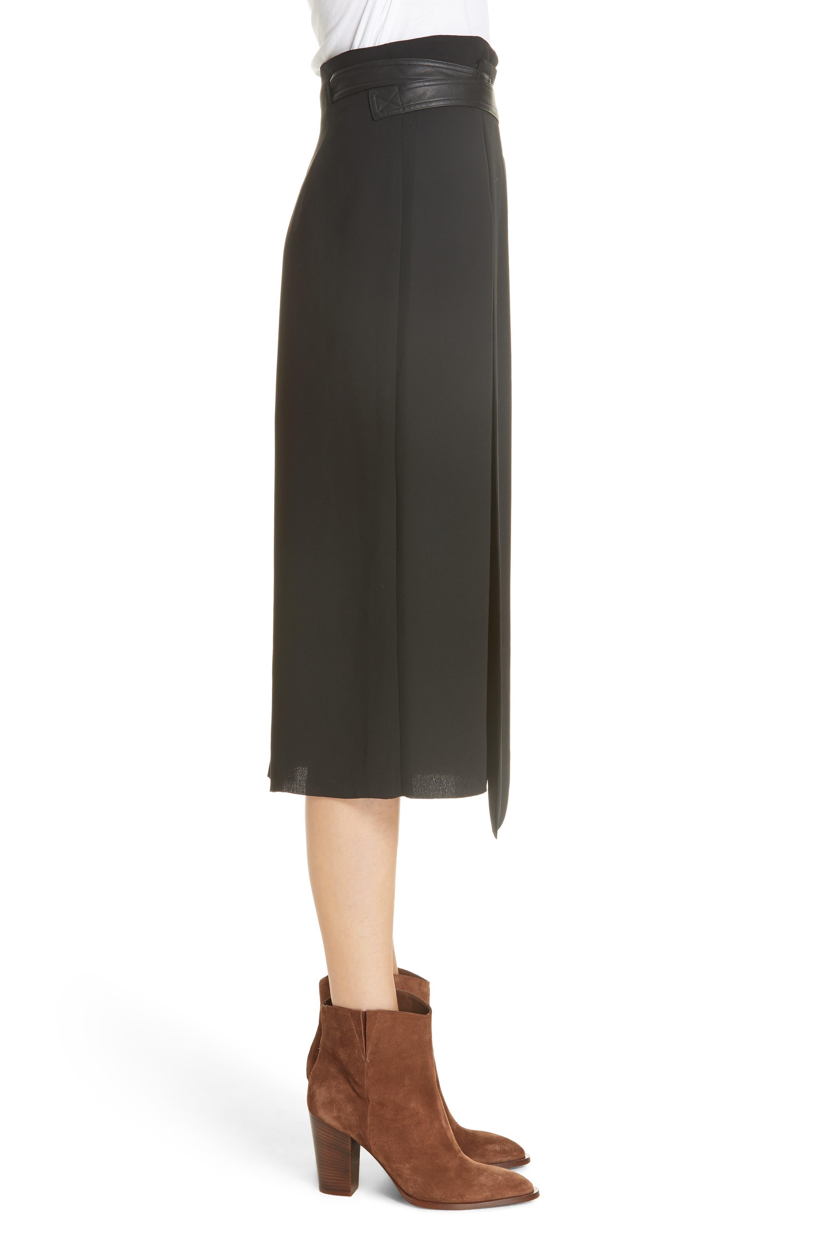 Belted Wrap Skirt,                             Alternate thumbnail 3, color,                             BLACK