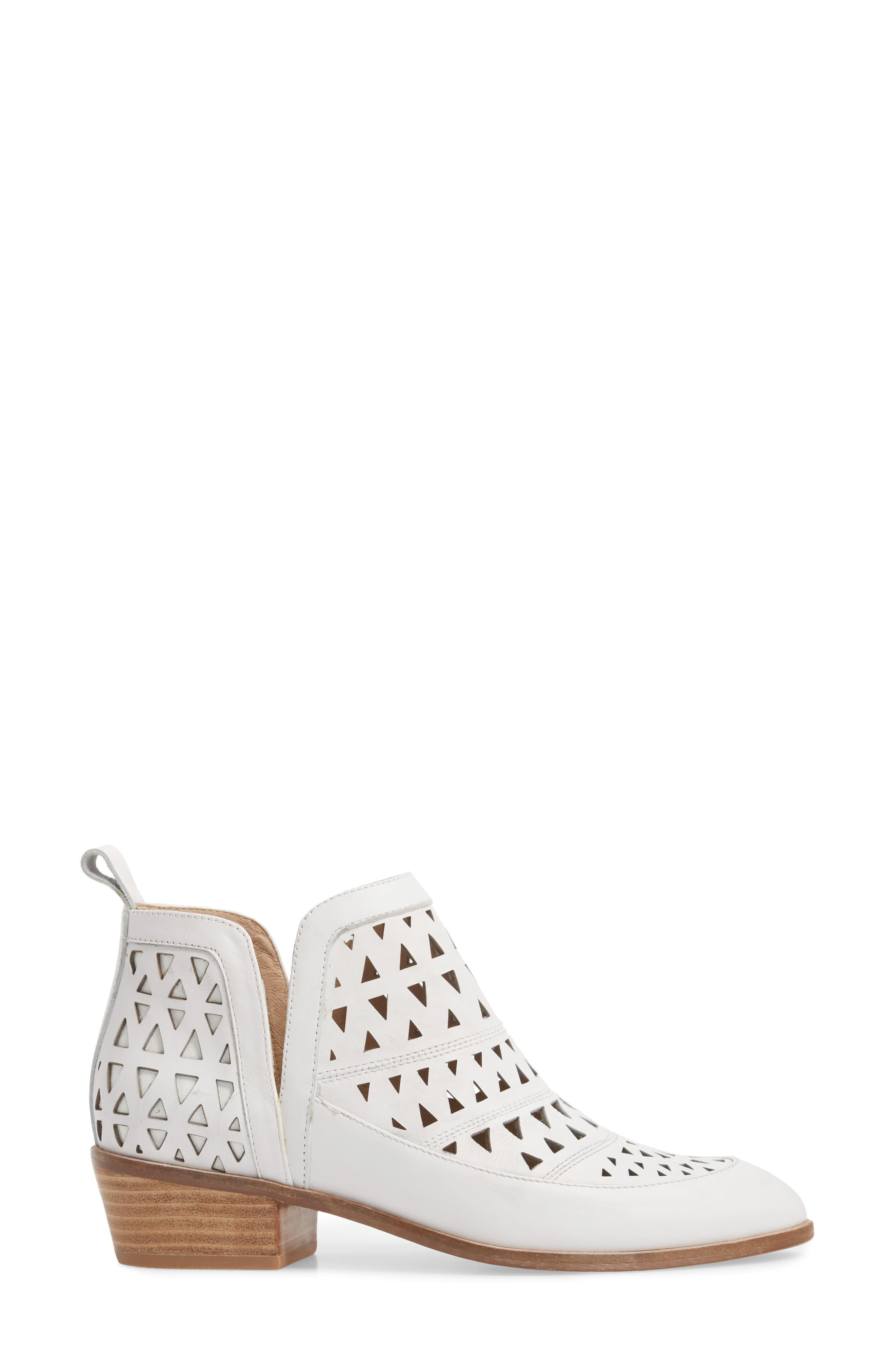 Catherine Cutout Bootie,                             Alternate thumbnail 3, color,                             WHITE LEATHER