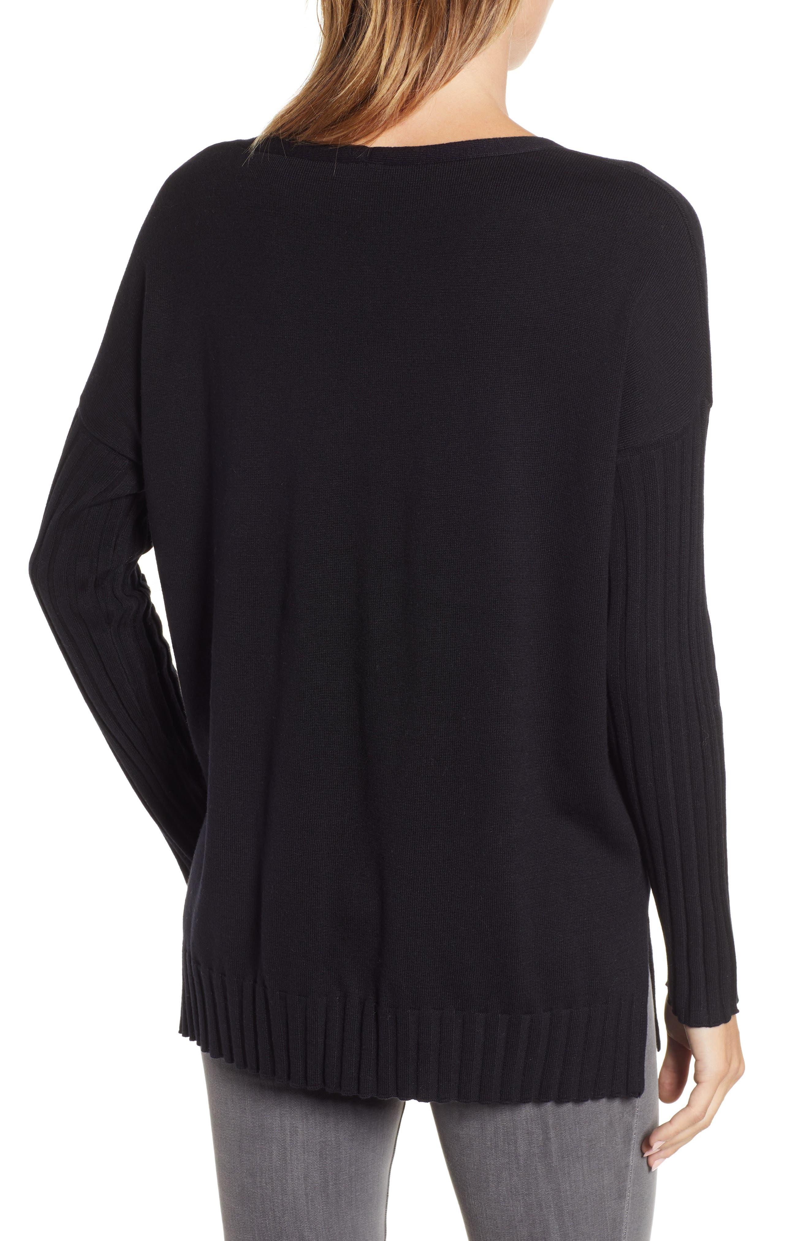 V-Neck Ribbed Sweater,                             Alternate thumbnail 2, color,                             RICH BLACK