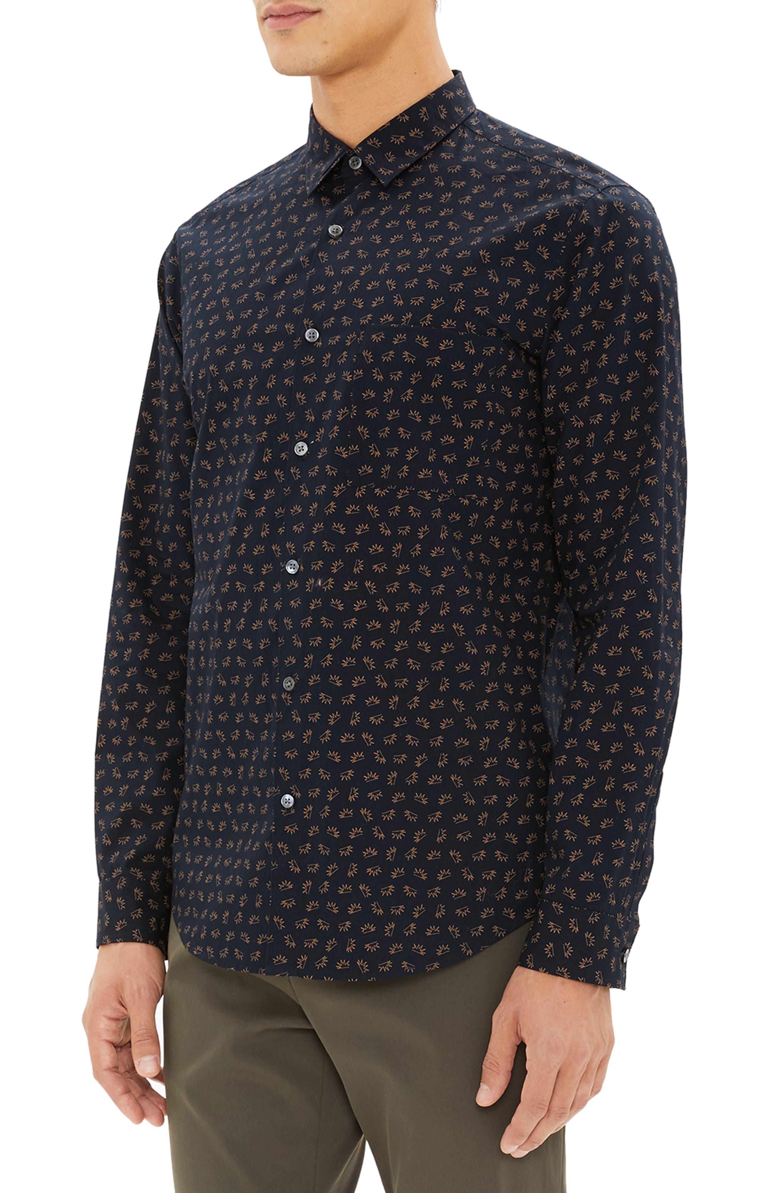 Irving Regular Fit Crown Print Sport Shirt,                             Alternate thumbnail 3, color,                             400