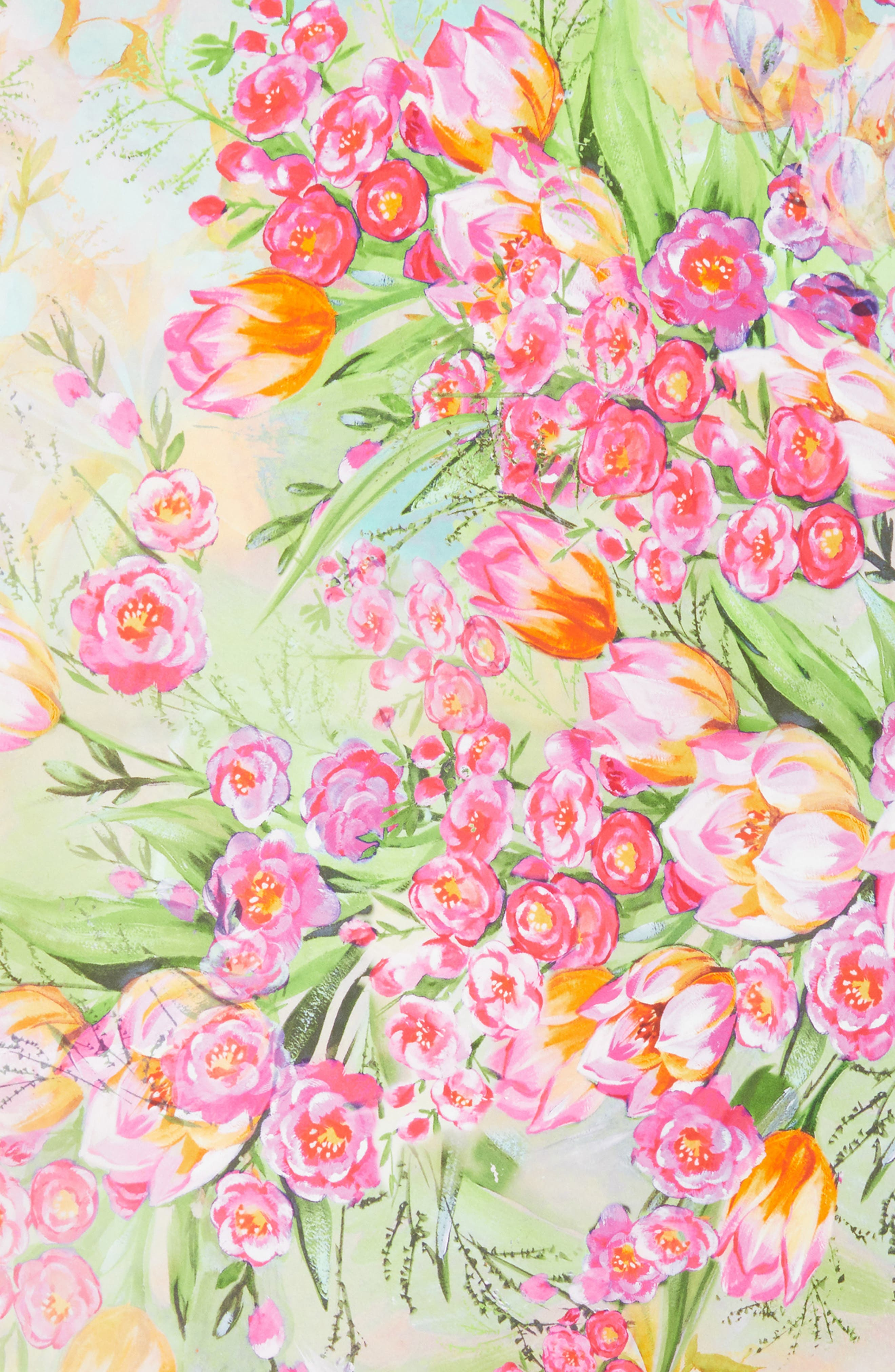 Painted Tulip Square Silk Scarf,                             Alternate thumbnail 4, color,                             CORAL