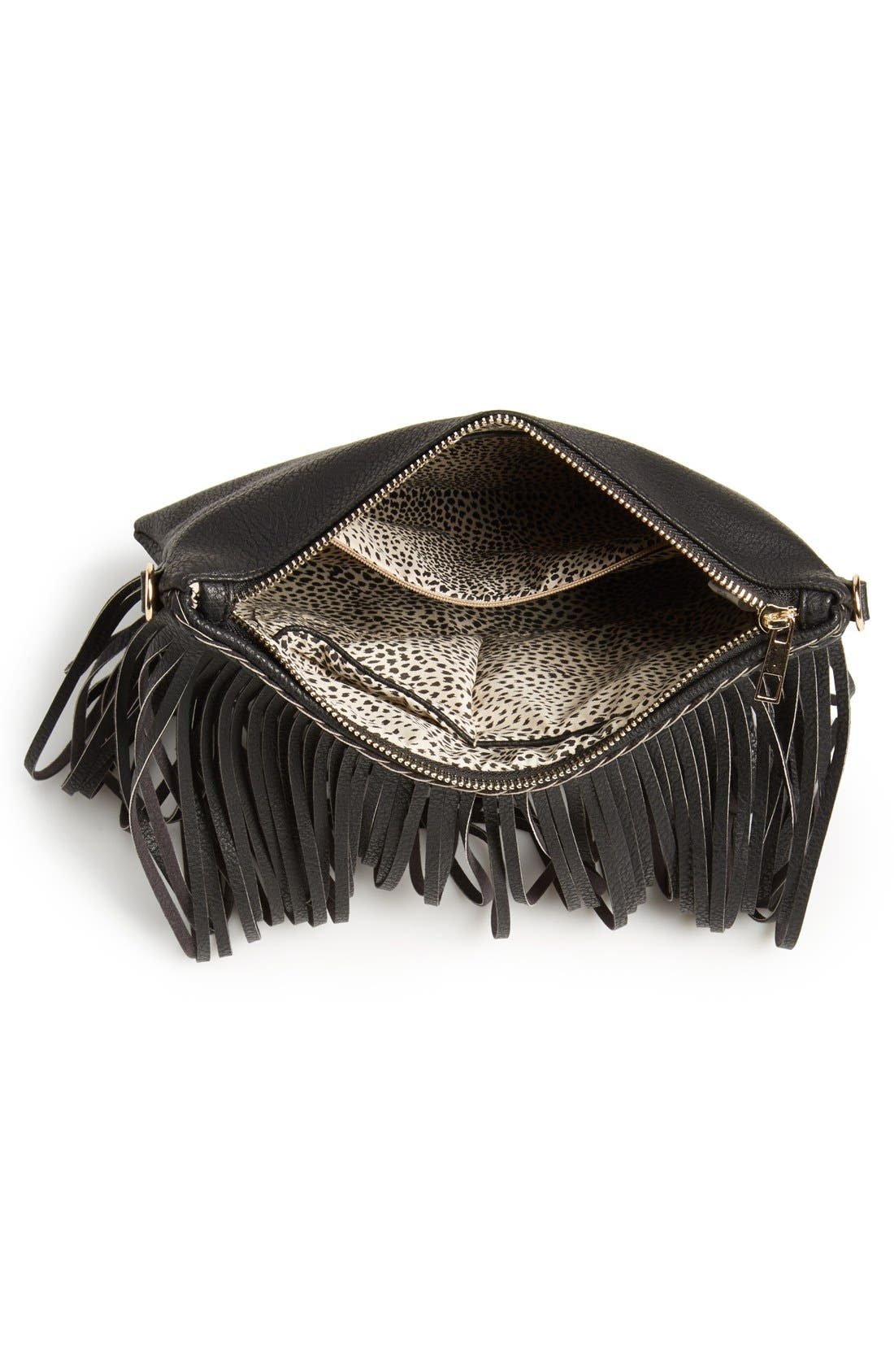 'Rose' Fringe Faux Leather Convertible Crossbody Bag,                             Alternate thumbnail 4, color,                             001