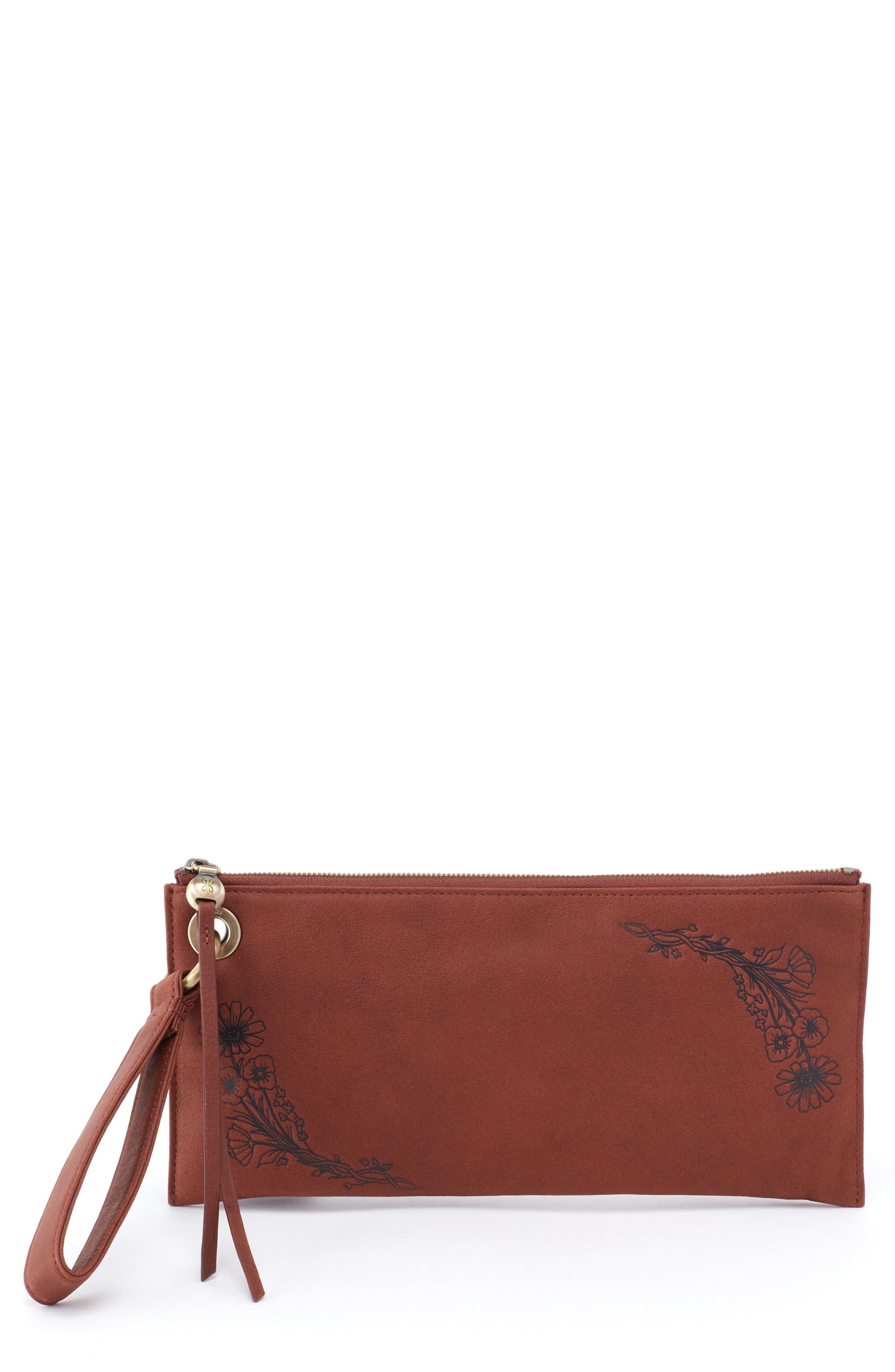 Vida Floral Leather Wristlet, Main, color, CHESTNUT