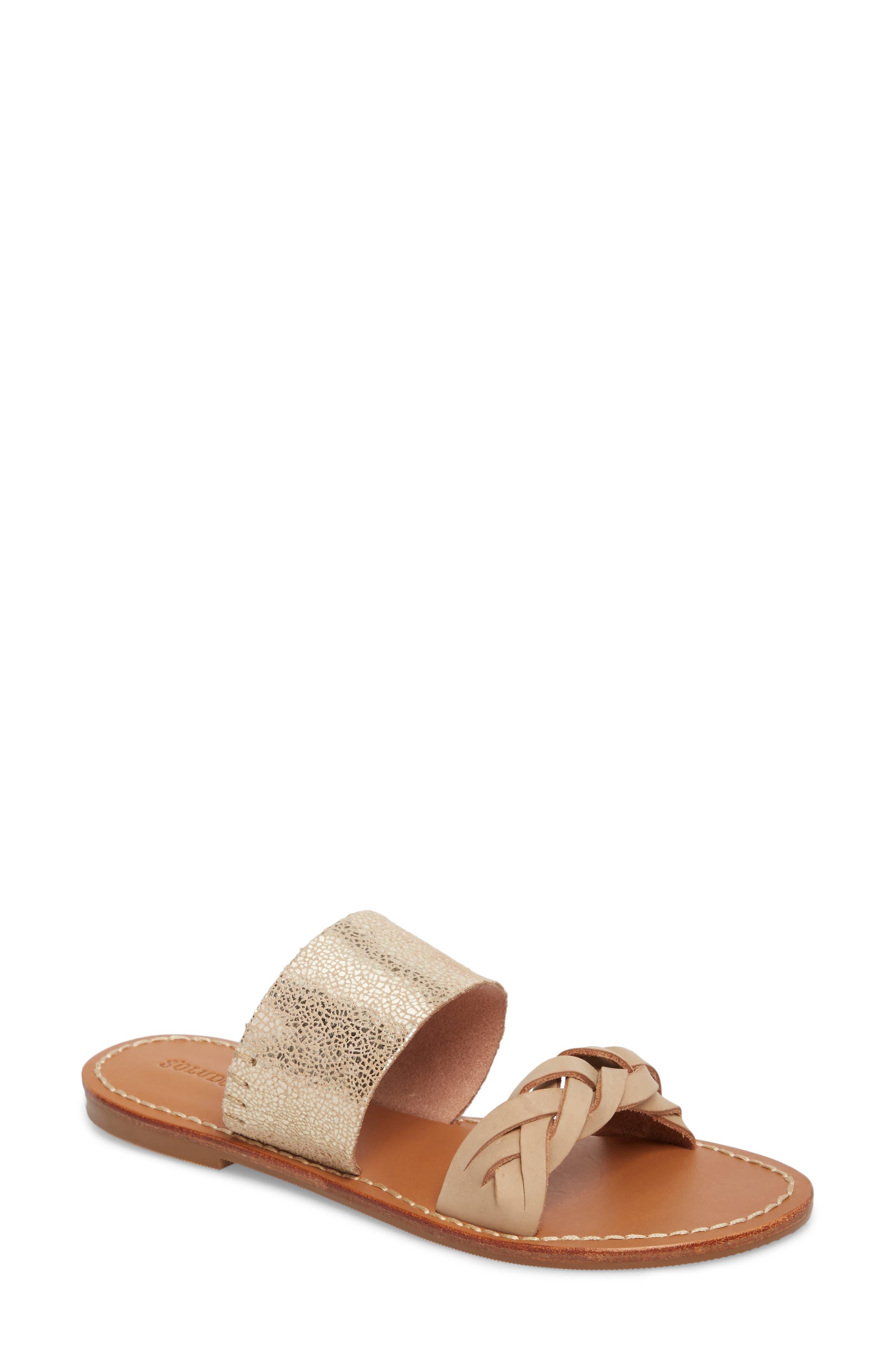 Slide Sandal,                         Main,                         color, NUDE/ PALE GOLD LEATHER