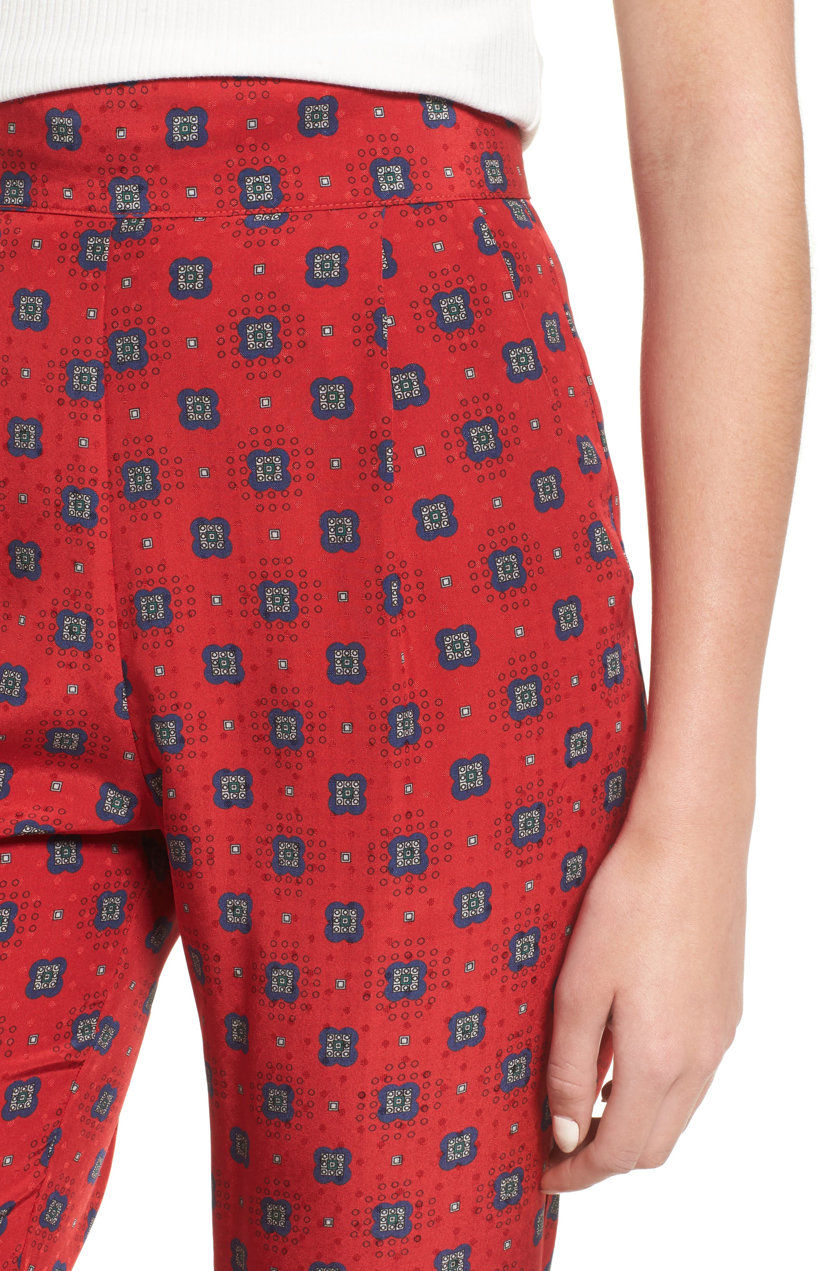 Isla Silk Crop Pants,                             Alternate thumbnail 8, color,