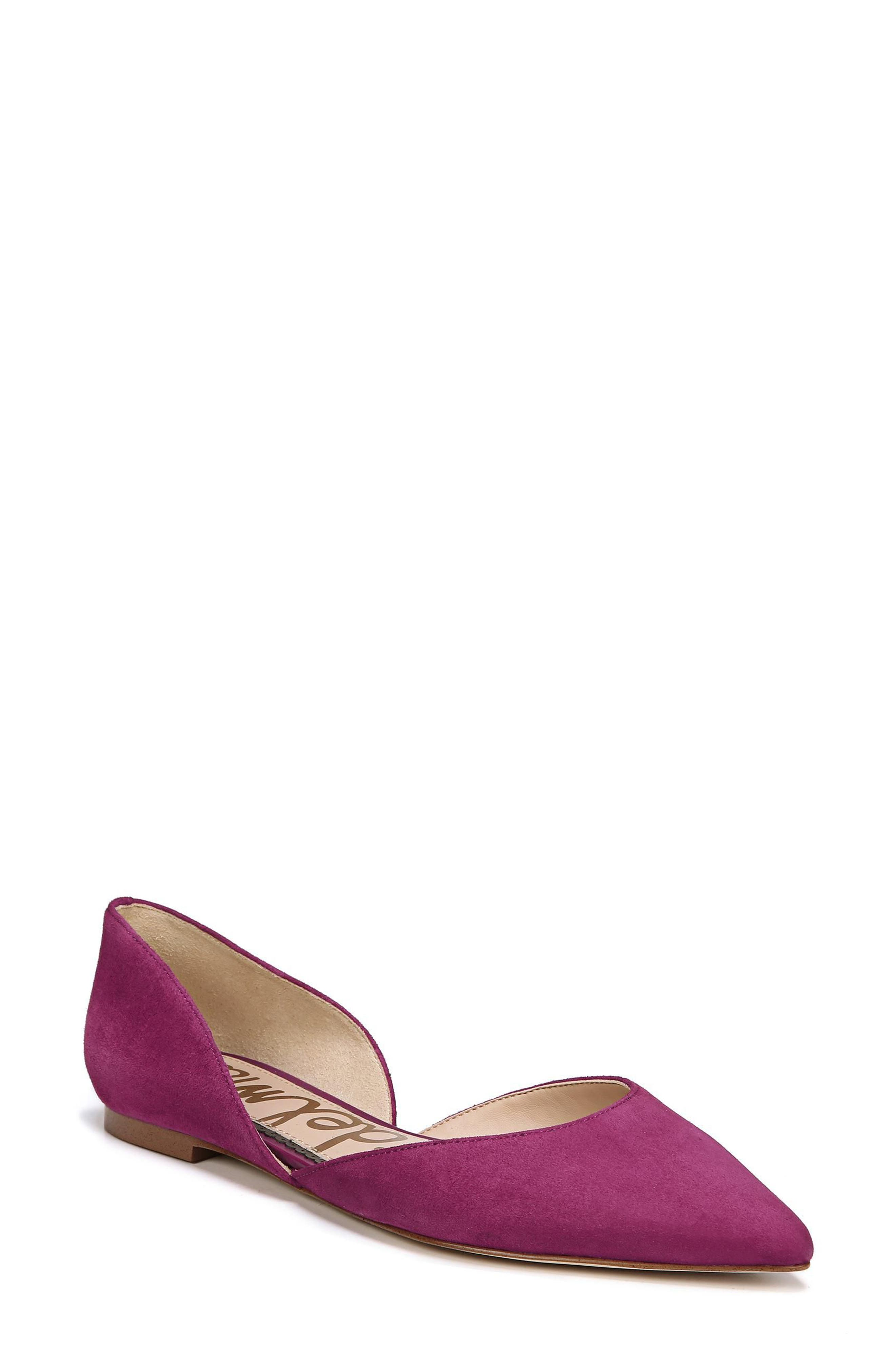 Rodney Pointy Toe d'Orsay Flat,                             Main thumbnail 1, color,                             PURPLE PLUM SUEDE