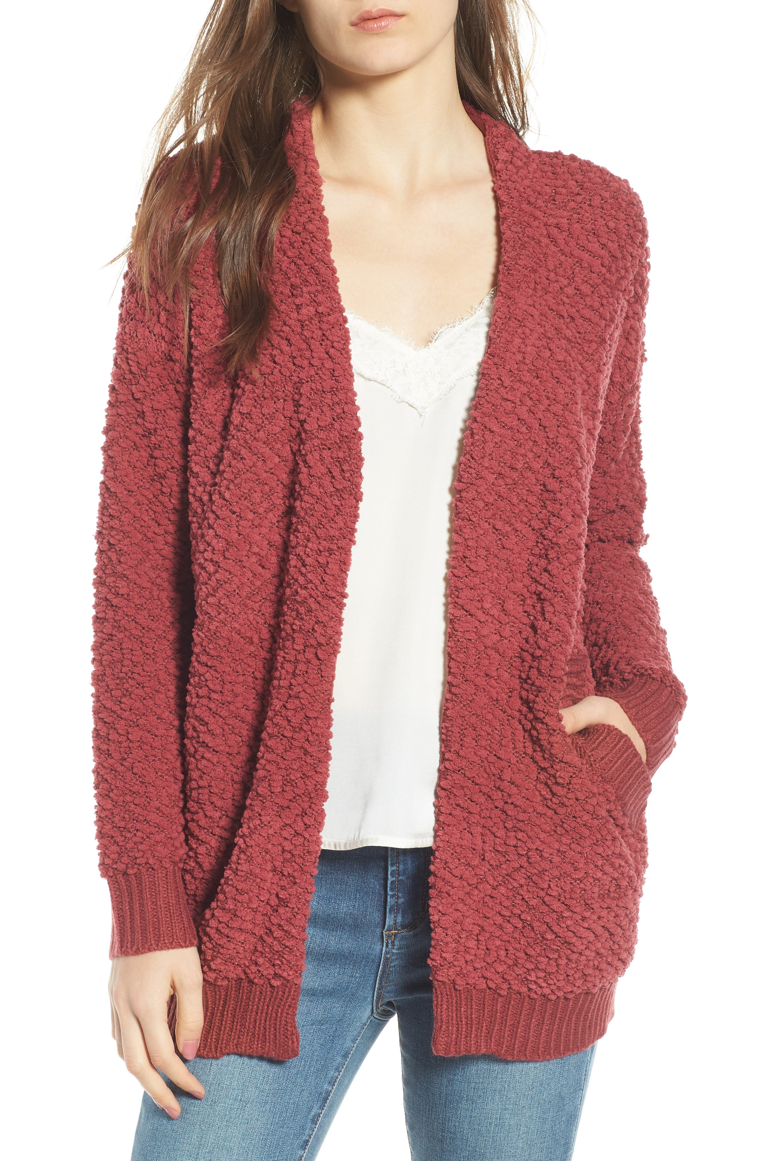 Nubby Cardigan,                         Main,                         color, BERRY
