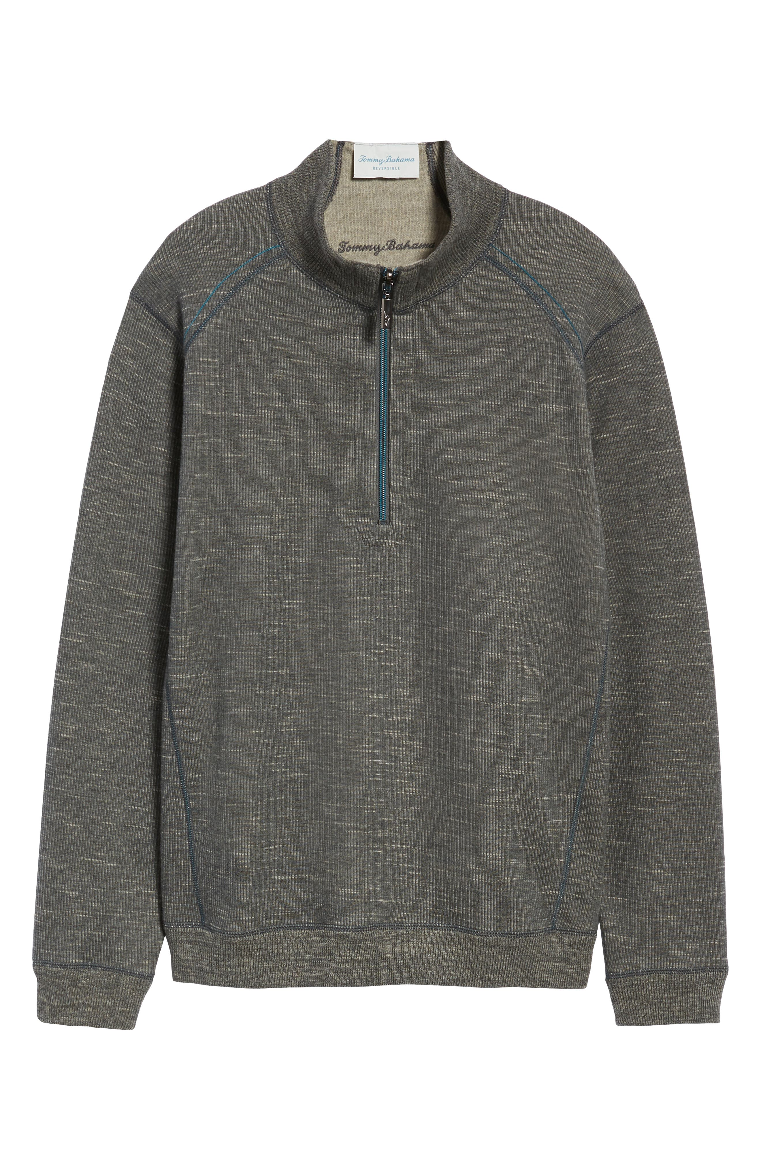 Flipsider Reversible Quarter-Zip Pullover,                             Alternate thumbnail 7, color,                             ONYX HEATHER