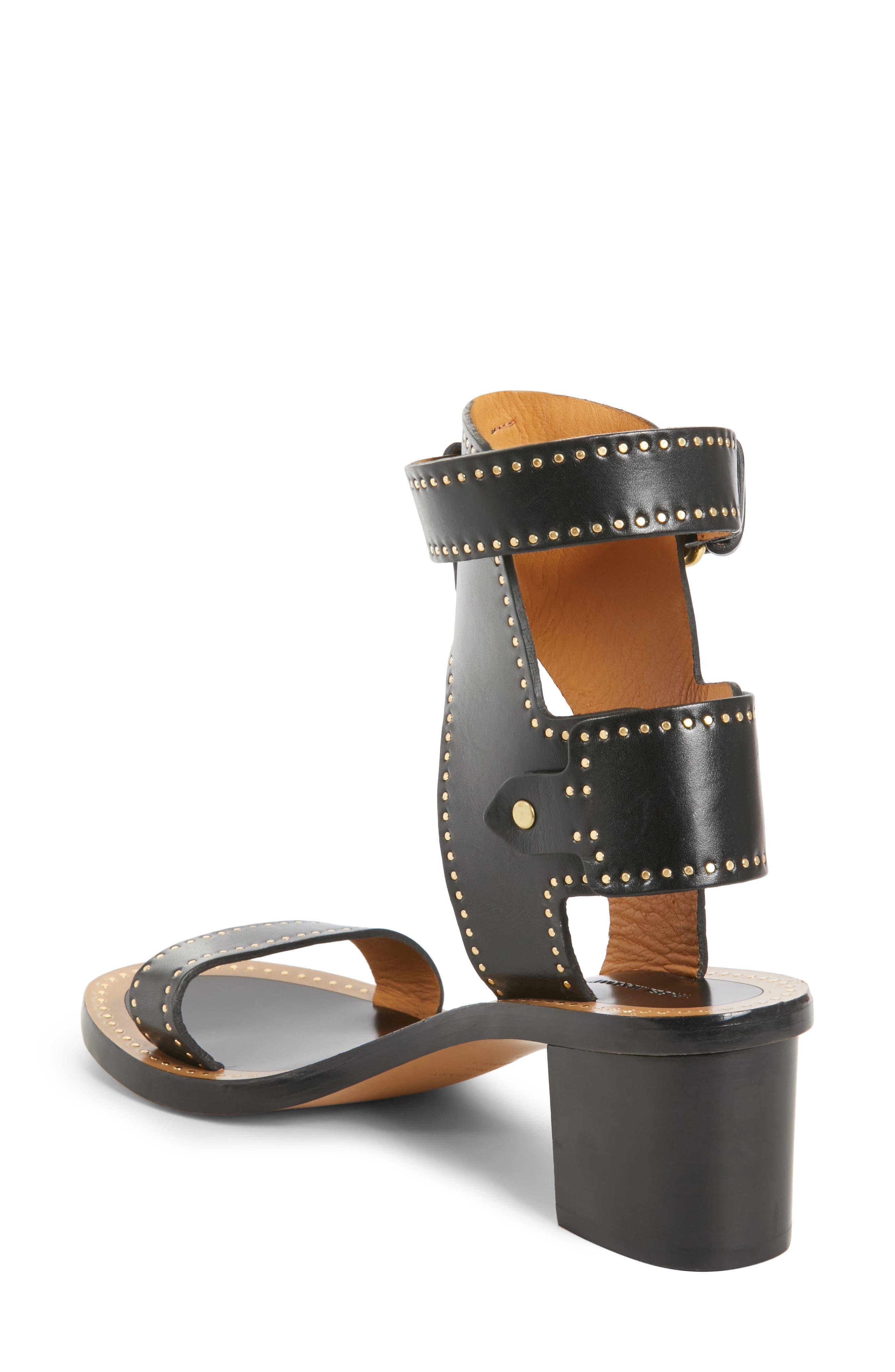 Jaeryn Studded Ankle Strap Sandal,                             Alternate thumbnail 2, color,                             BLACK LEATHER