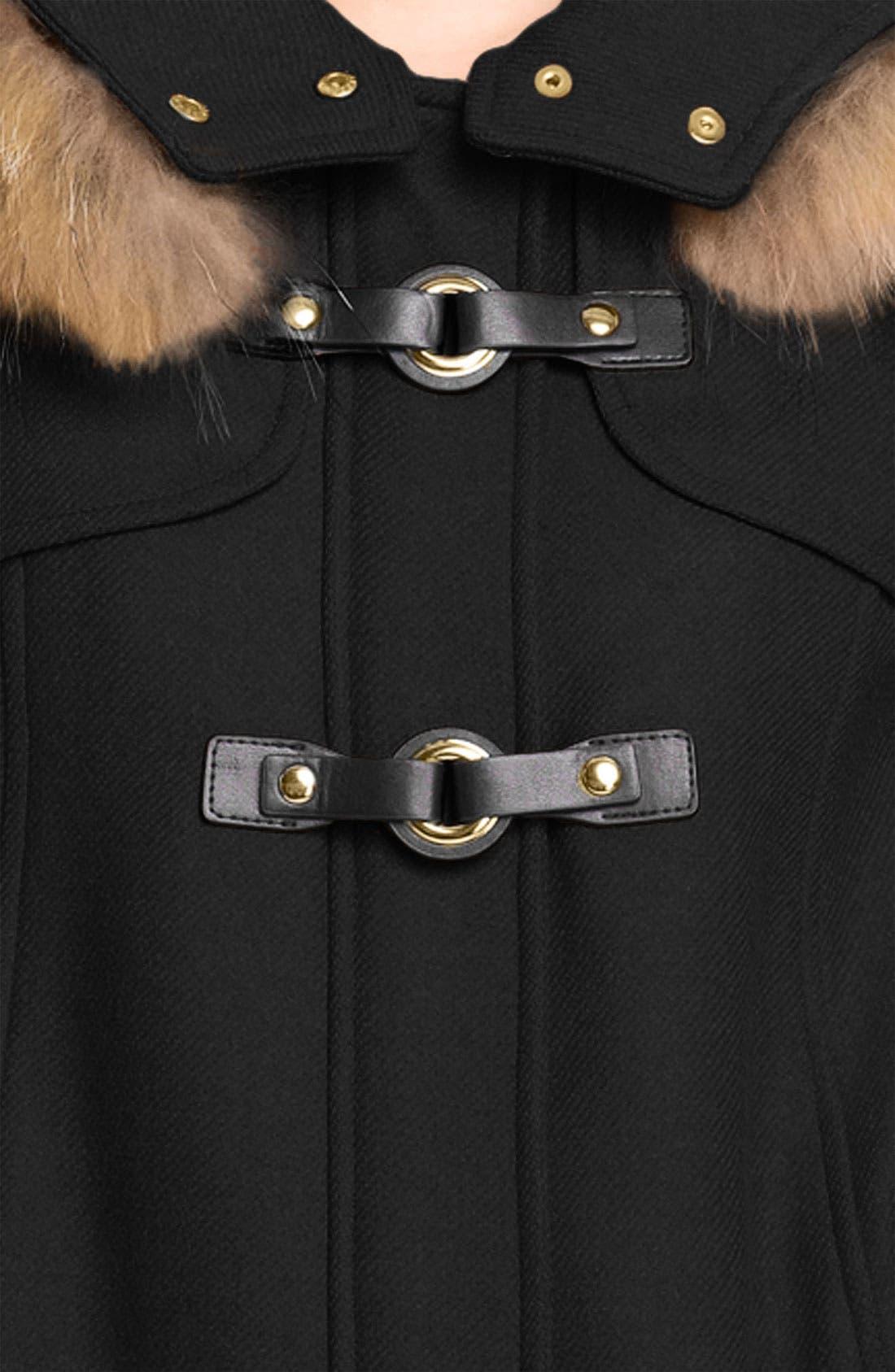 TRINA TURK,                             Hooded Duffle Coat with Genuine Coyote Fur Trim,                             Alternate thumbnail 2, color,                             001