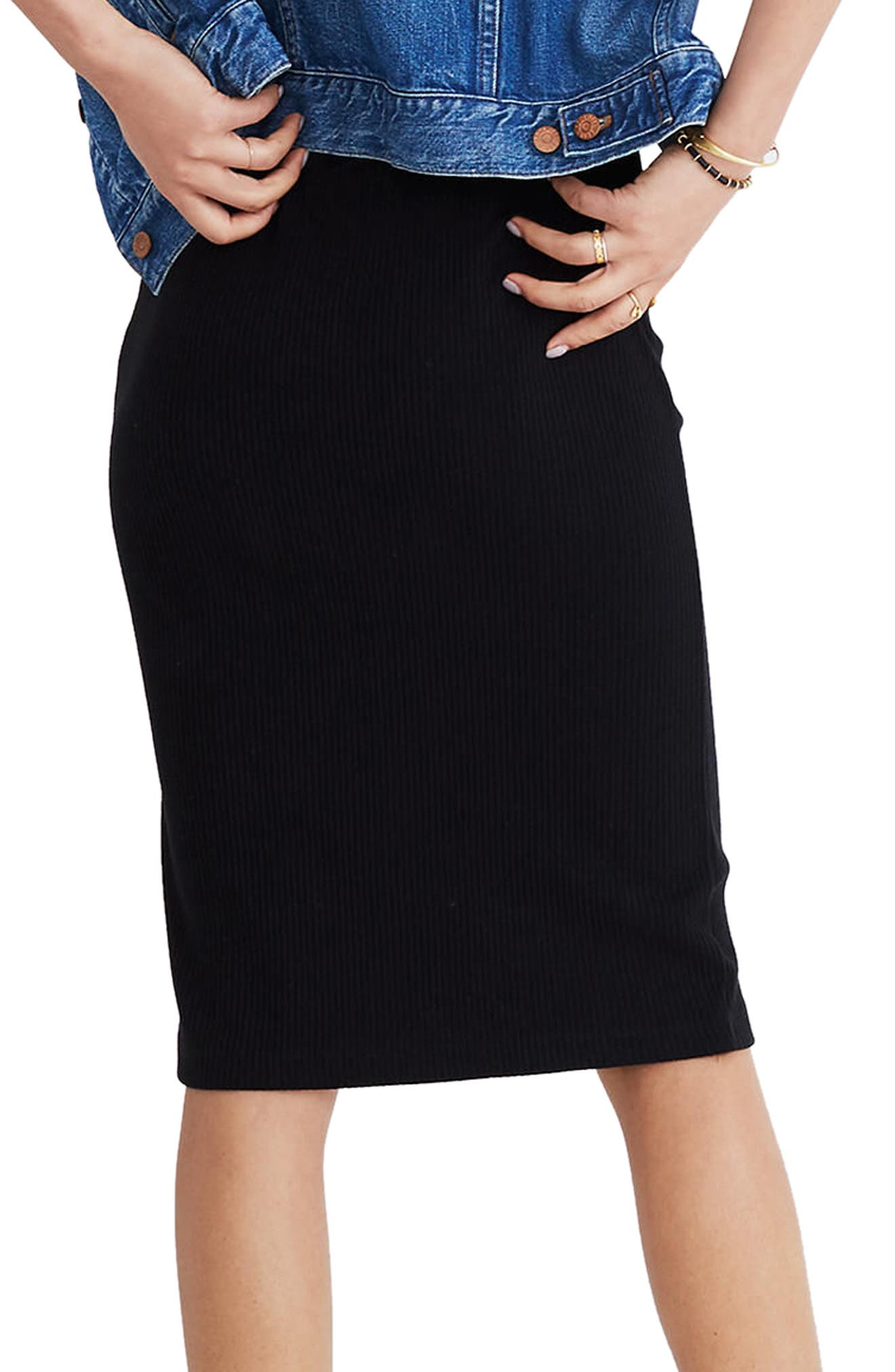 Ribbed Pencil Skirt,                             Alternate thumbnail 2, color,                             001