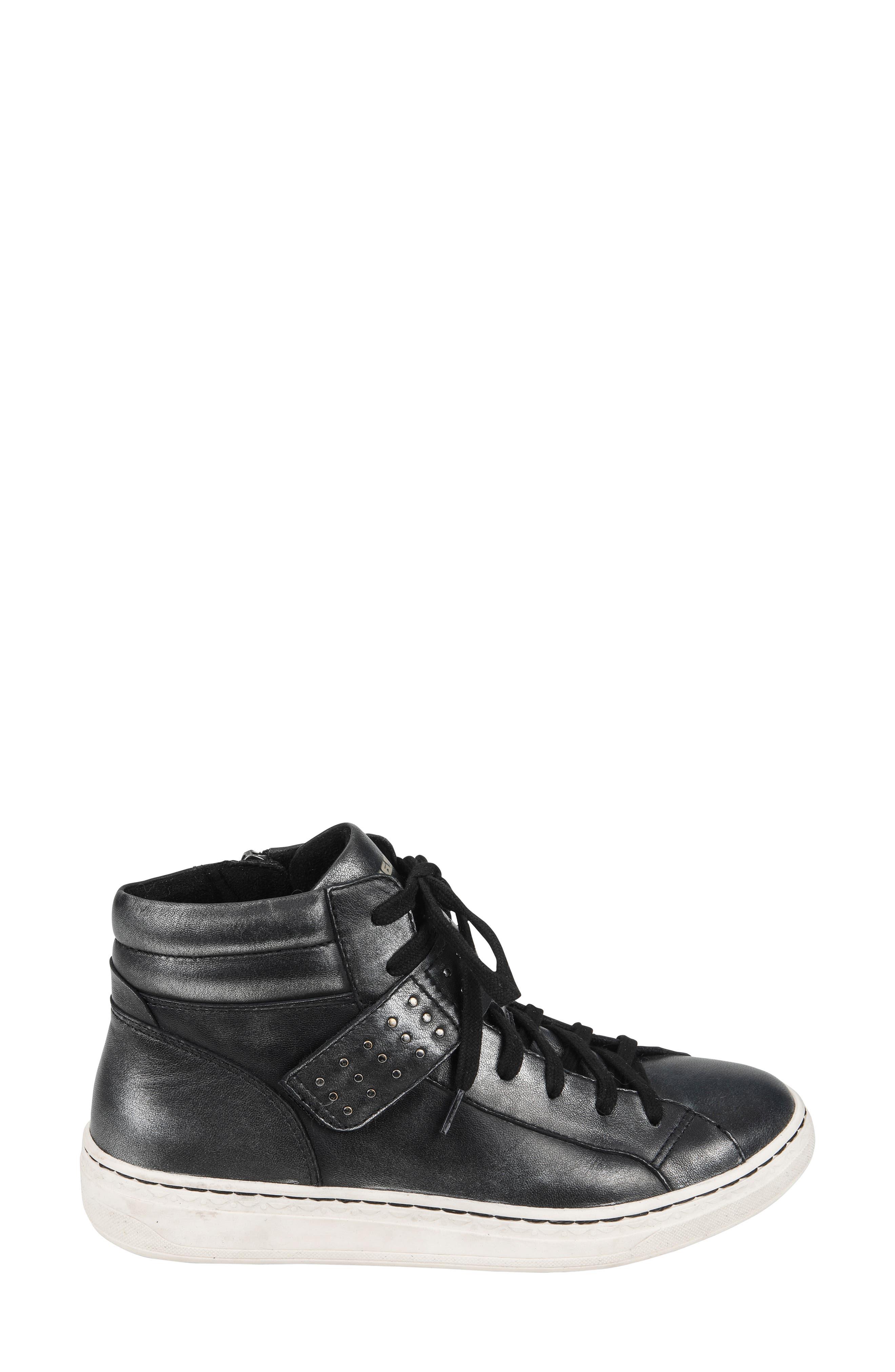 Zeal High Top Sneaker,                             Alternate thumbnail 3, color,                             BLACK METALLIC LEATHER