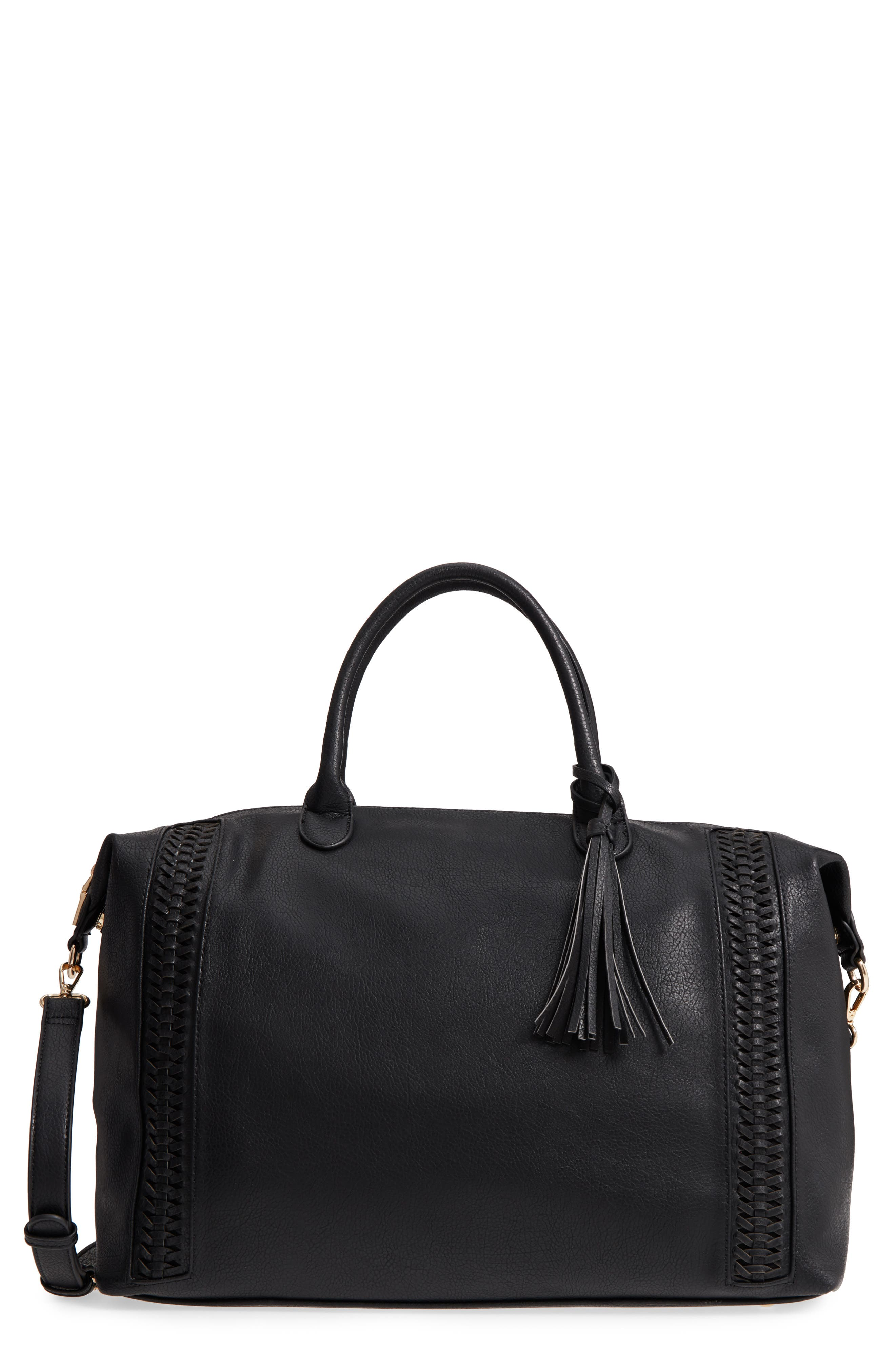 Tara Whipstitched Faux Leather Weekend Bag,                         Main,                         color, 001