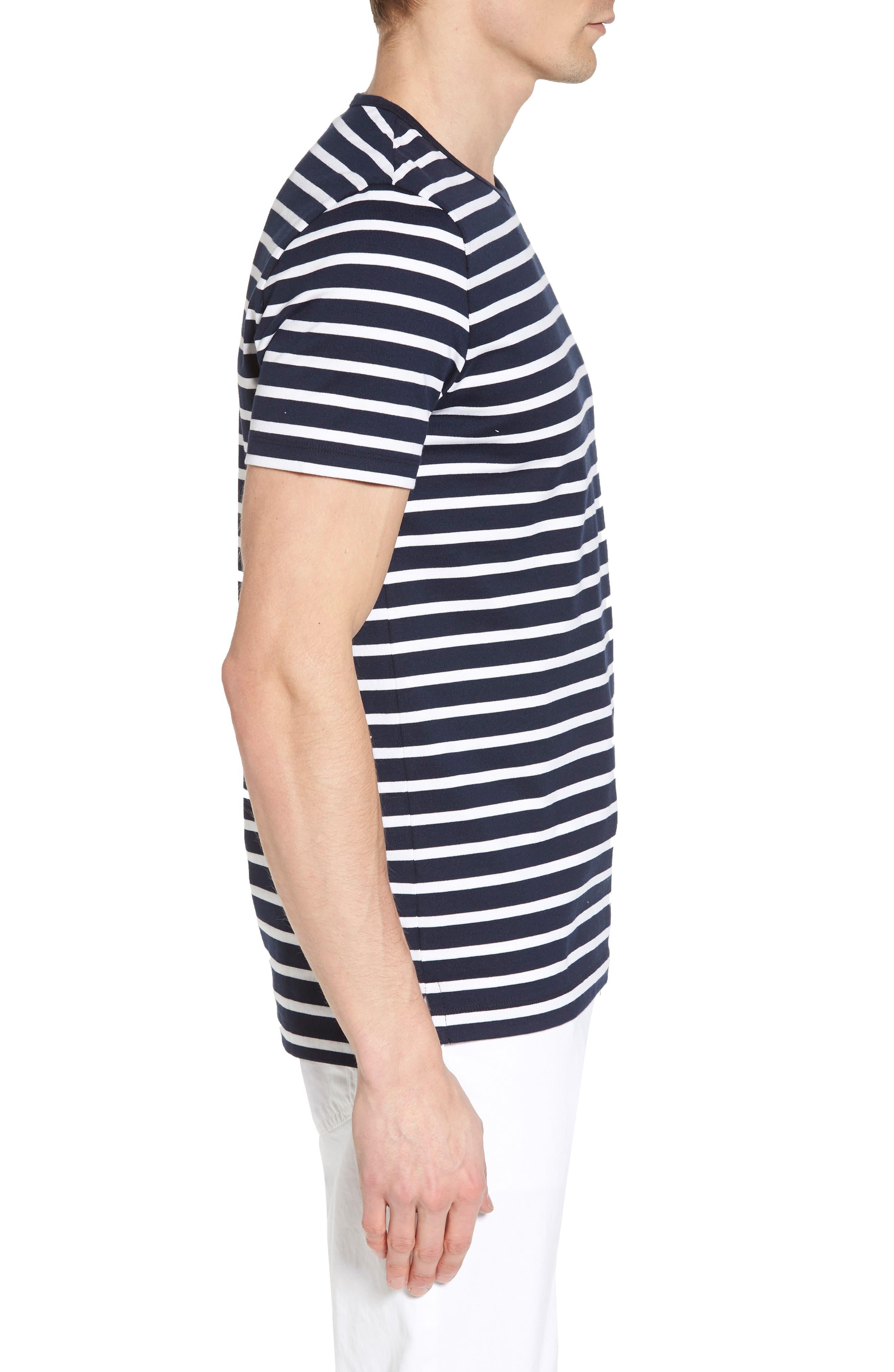 Tessler Stripe Crewneck T-Shirt,                             Alternate thumbnail 3, color,                             410