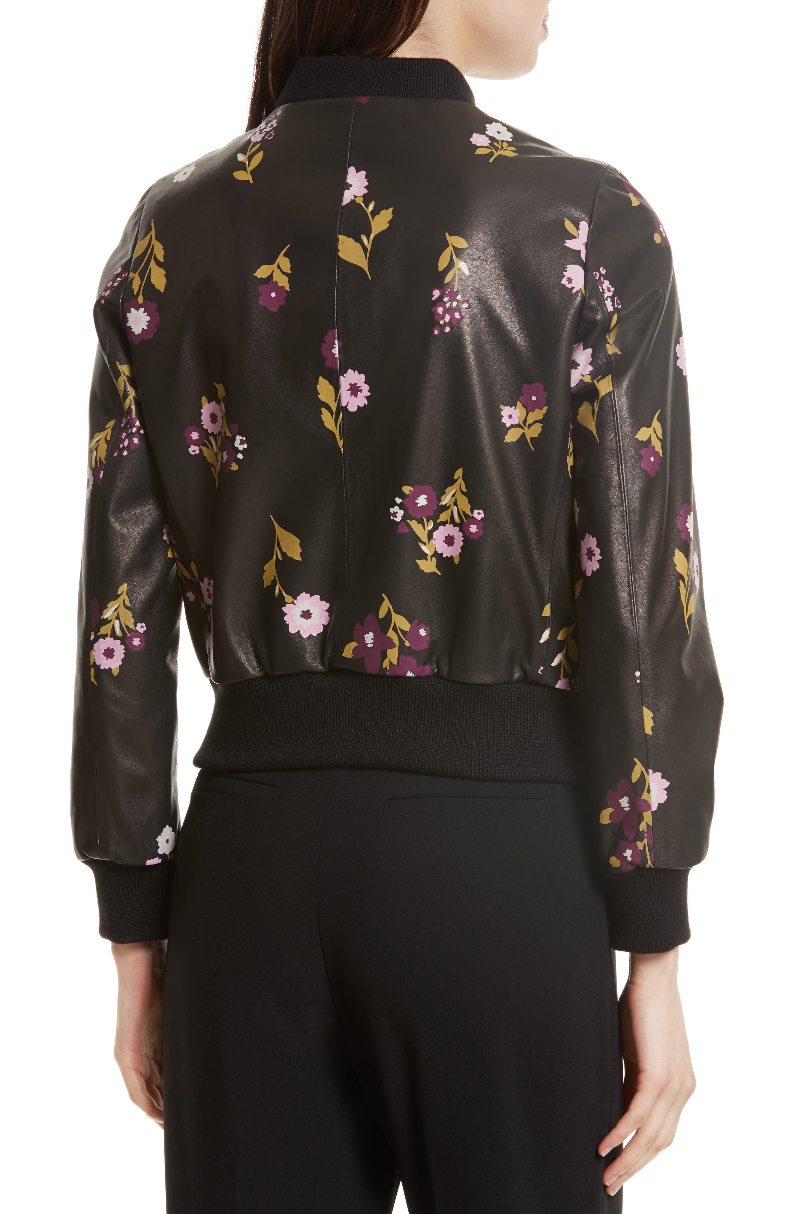 in bloom leather bomber jacket,                             Alternate thumbnail 2, color,                             006