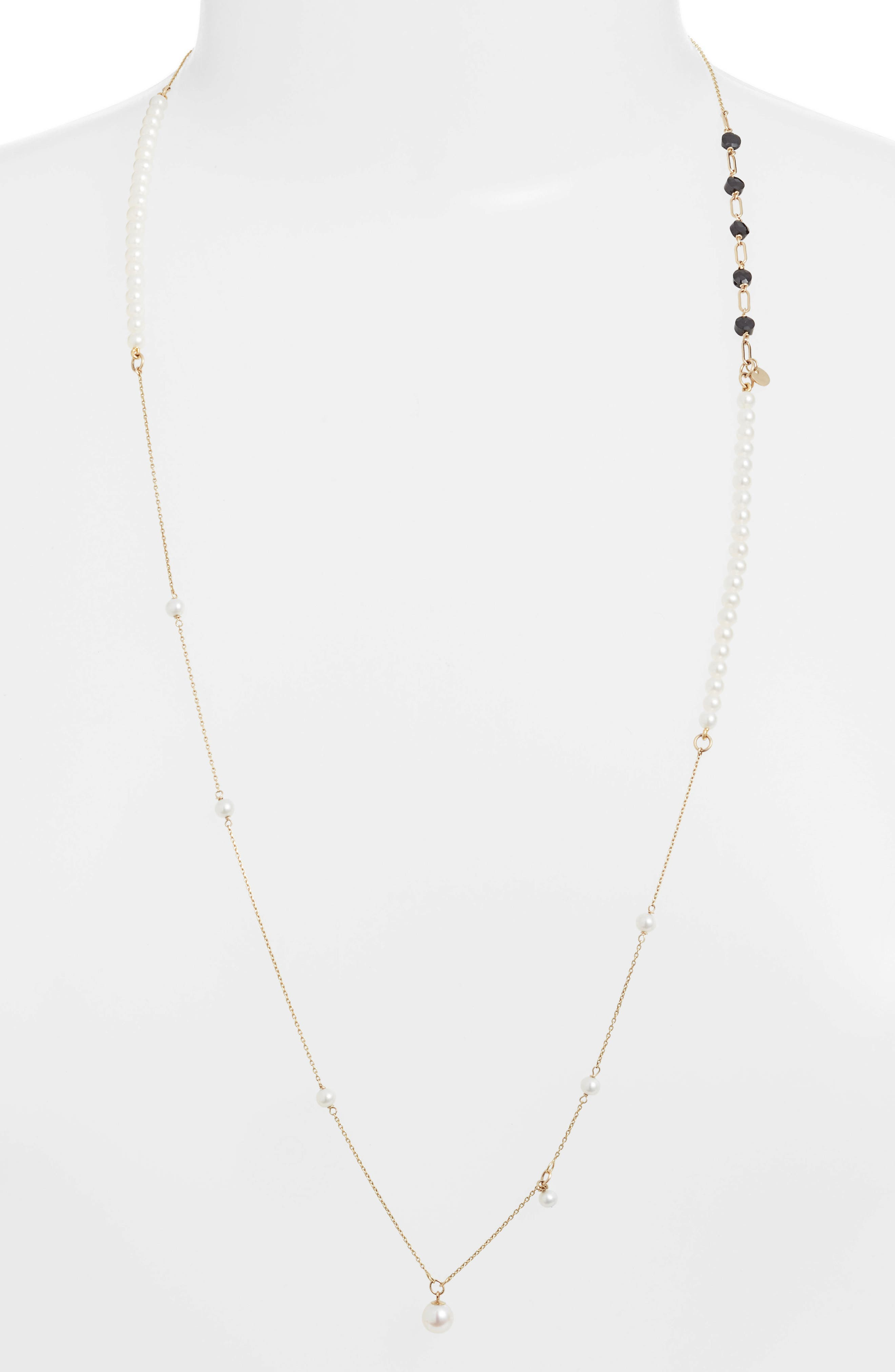 Pearl & Onyx Necklace, Main, color, YELLOW GOLD/ PEARL
