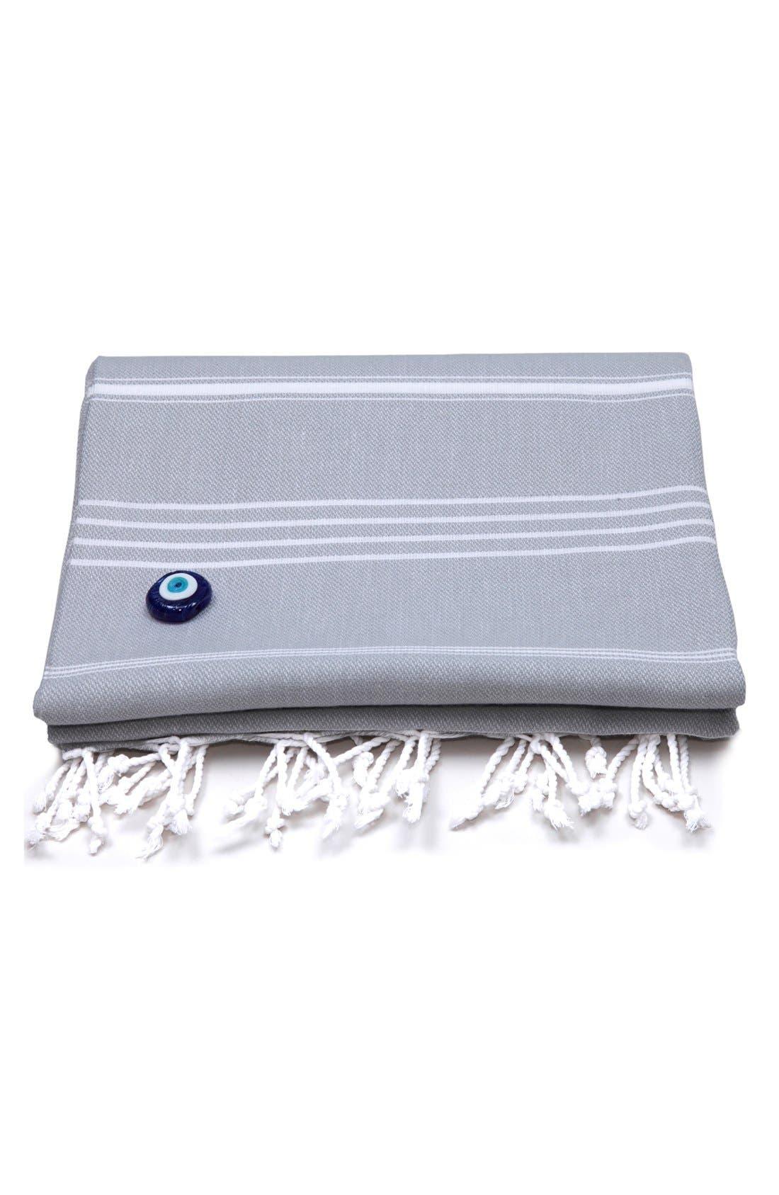 'Lucky' Turkish Pestemal Towel,                         Main,                         color, GREY