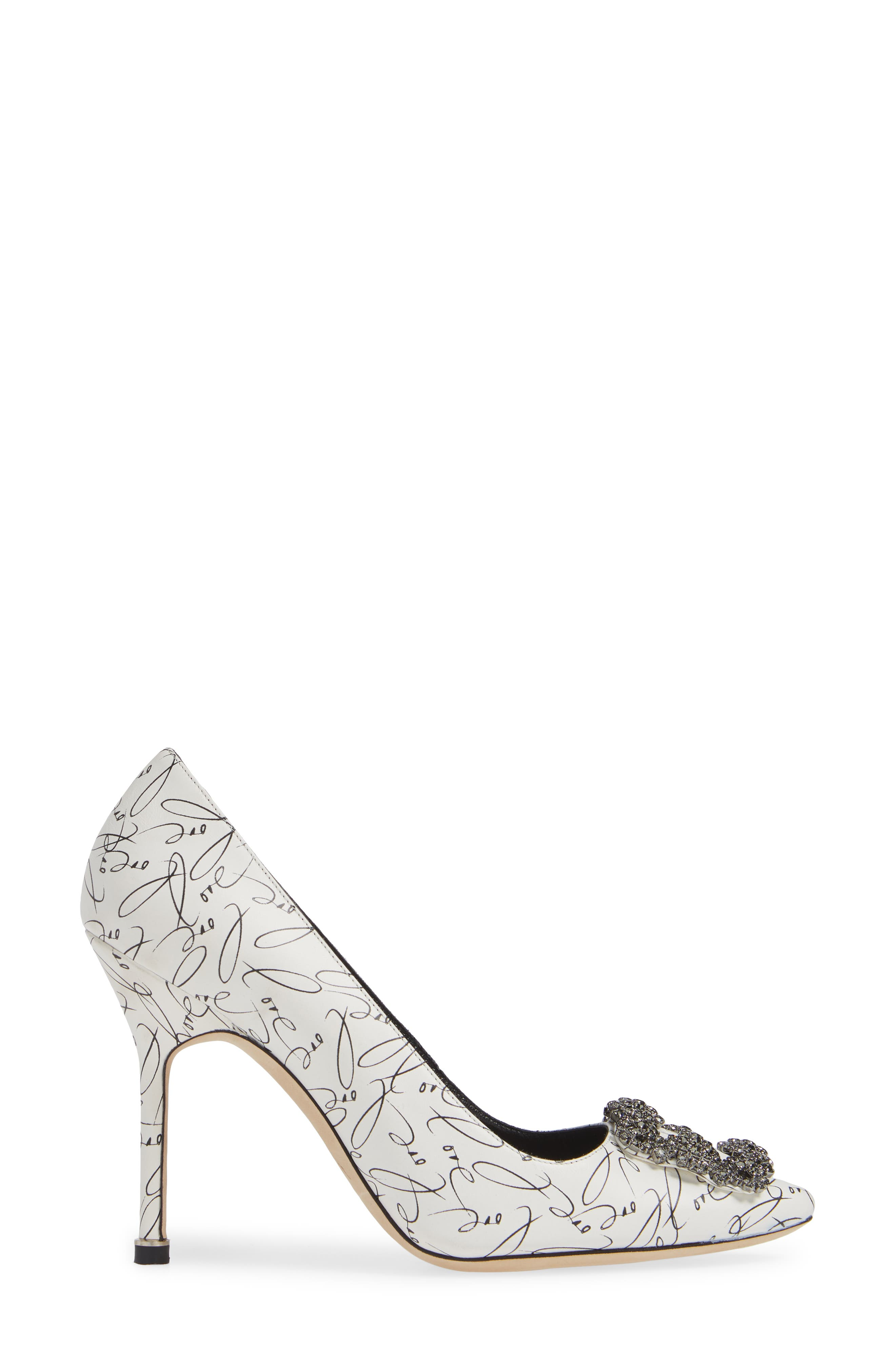 MANOLO BLAHNIK,                             Decade of Love Hangisi Anniversary Embellished Pump,                             Alternate thumbnail 3, color,                             WHITE LEATHER