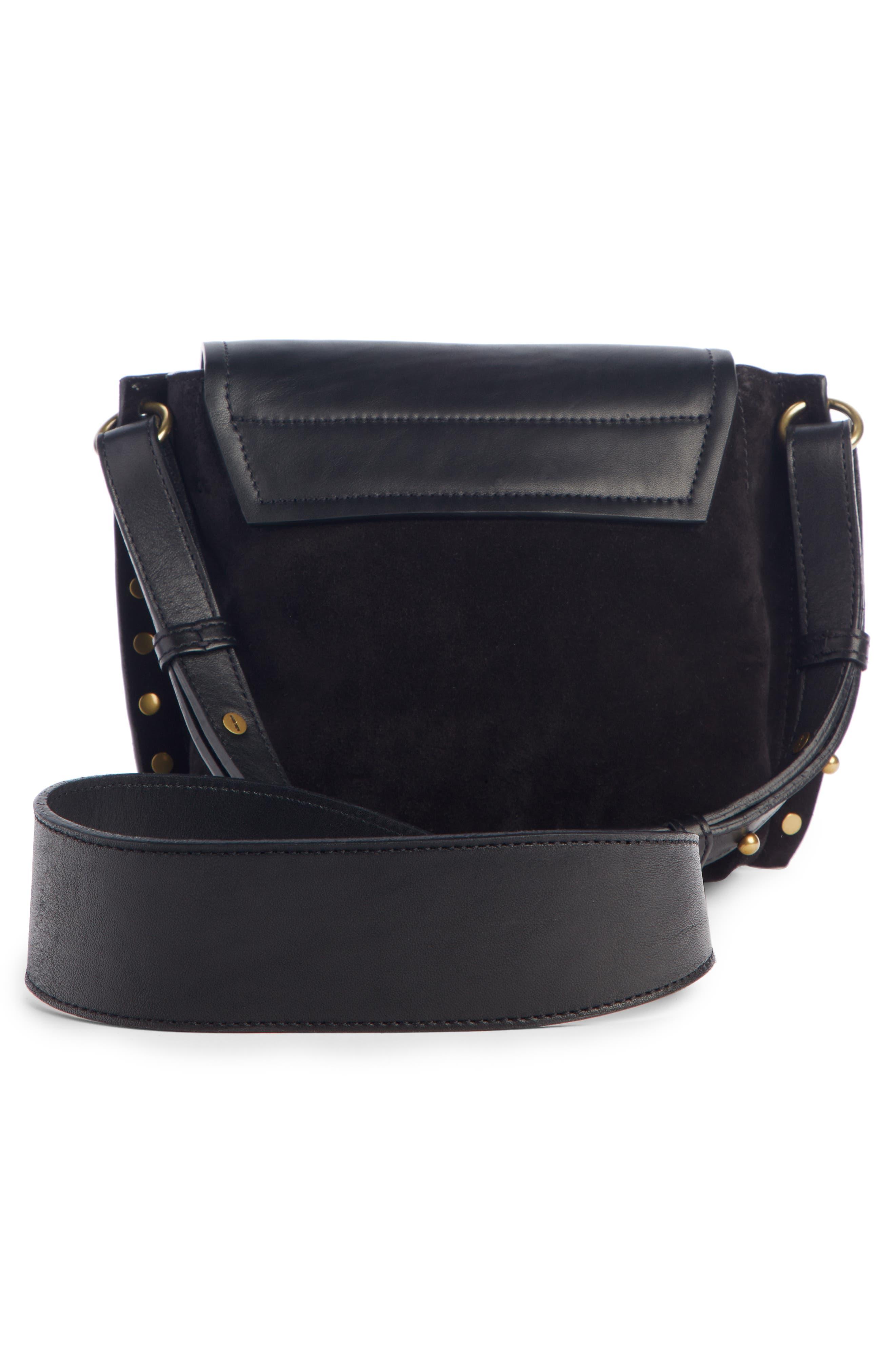 Kleny Leather Shoulder Bag,                             Alternate thumbnail 3, color,                             BLACK