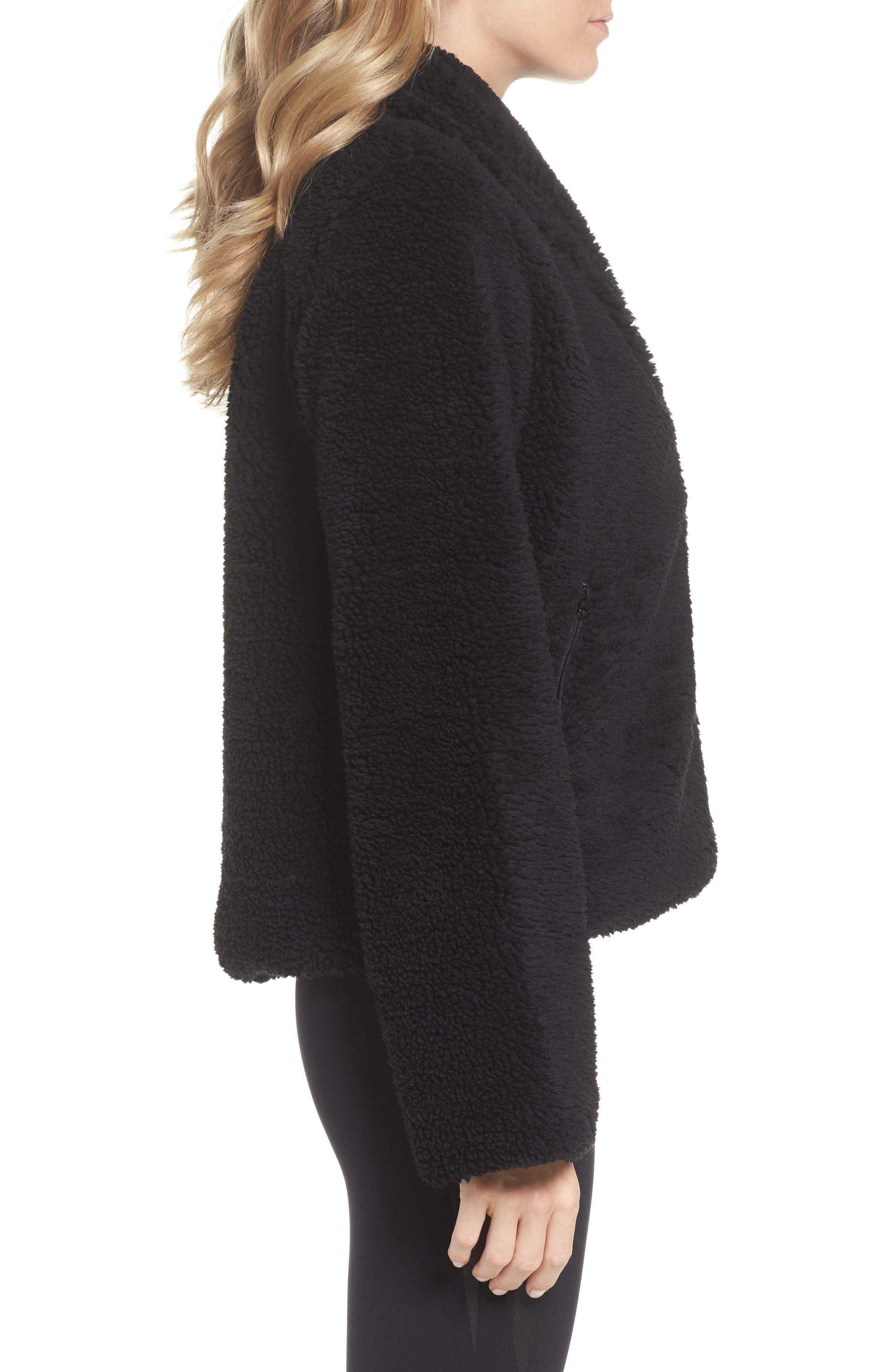 Cozy Up Faux Fur Crop Jacket,                             Alternate thumbnail 3, color,                             BLACK
