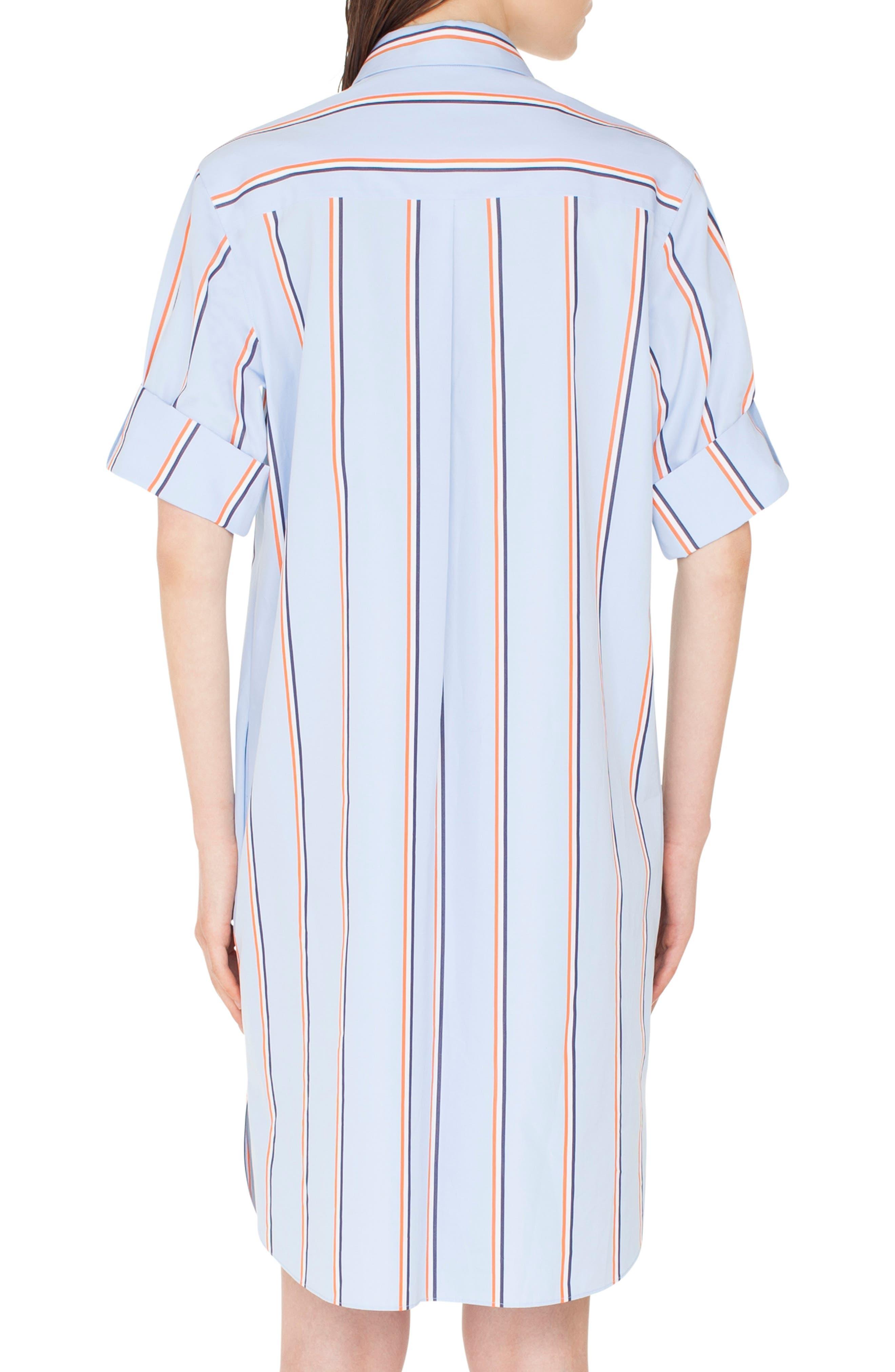 Stripe Cotton Shirtdress,                             Alternate thumbnail 2, color,                             CIELO-MULTICOLOR