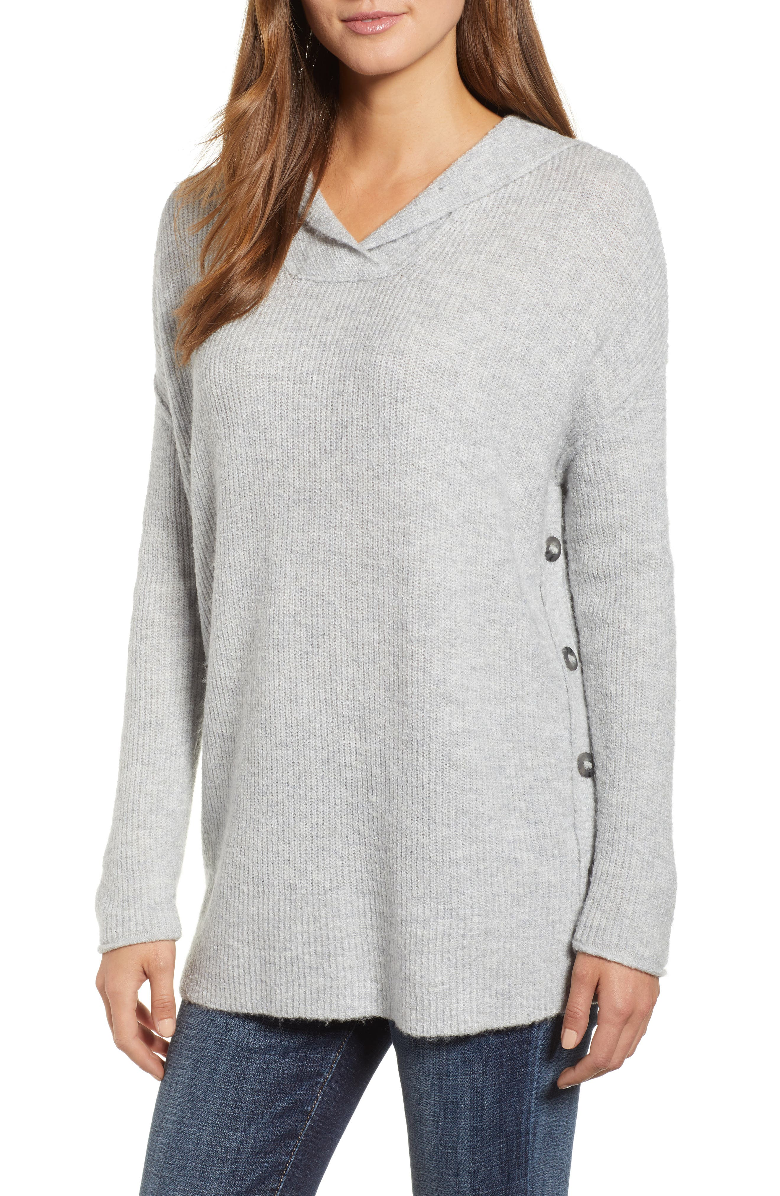 Side Button Hooded Sweater,                             Main thumbnail 1, color,                             GREY LIGHT HEATHER