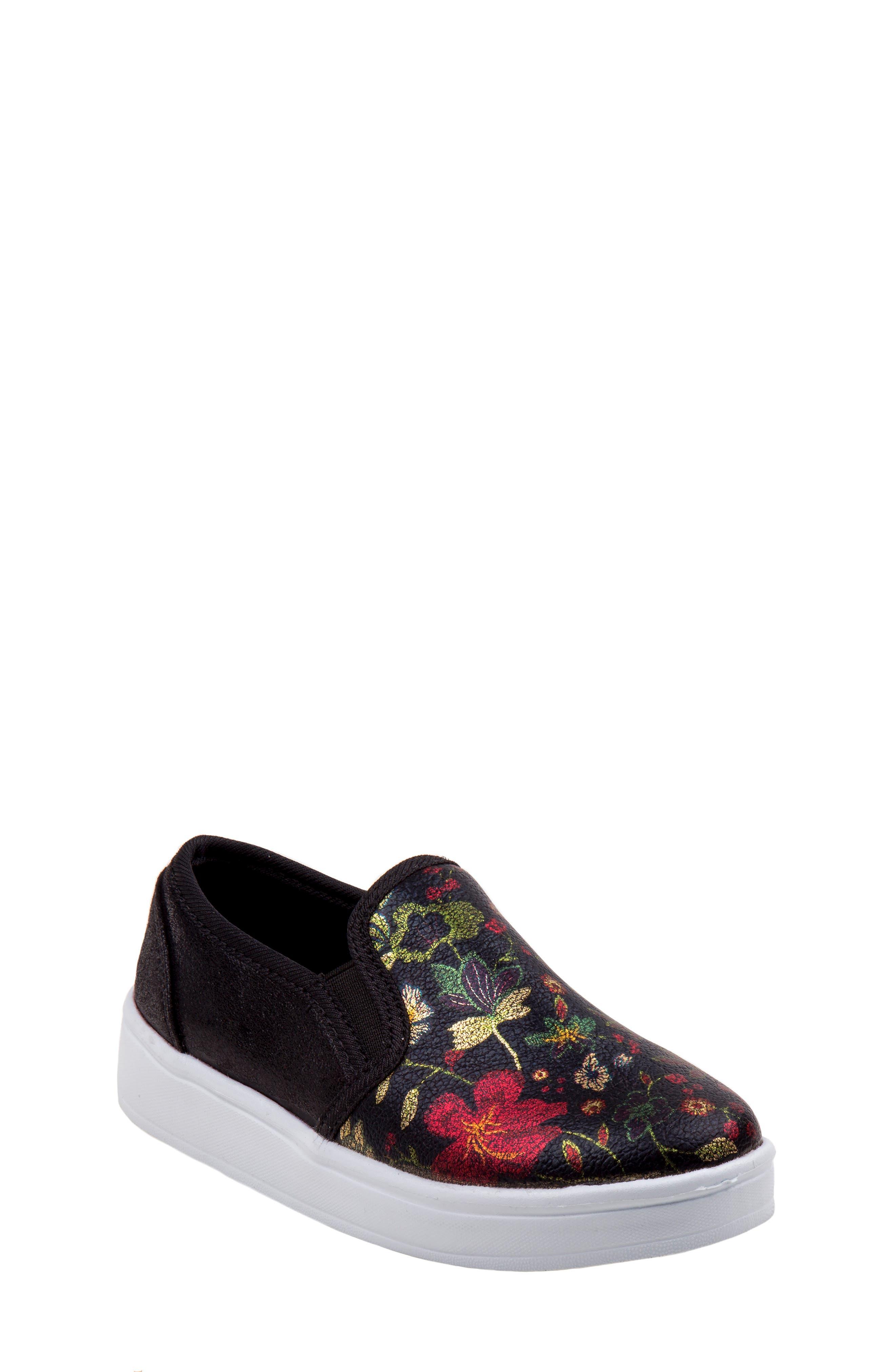 Floral Slip-On Sneaker,                             Main thumbnail 1, color,                             BLACK
