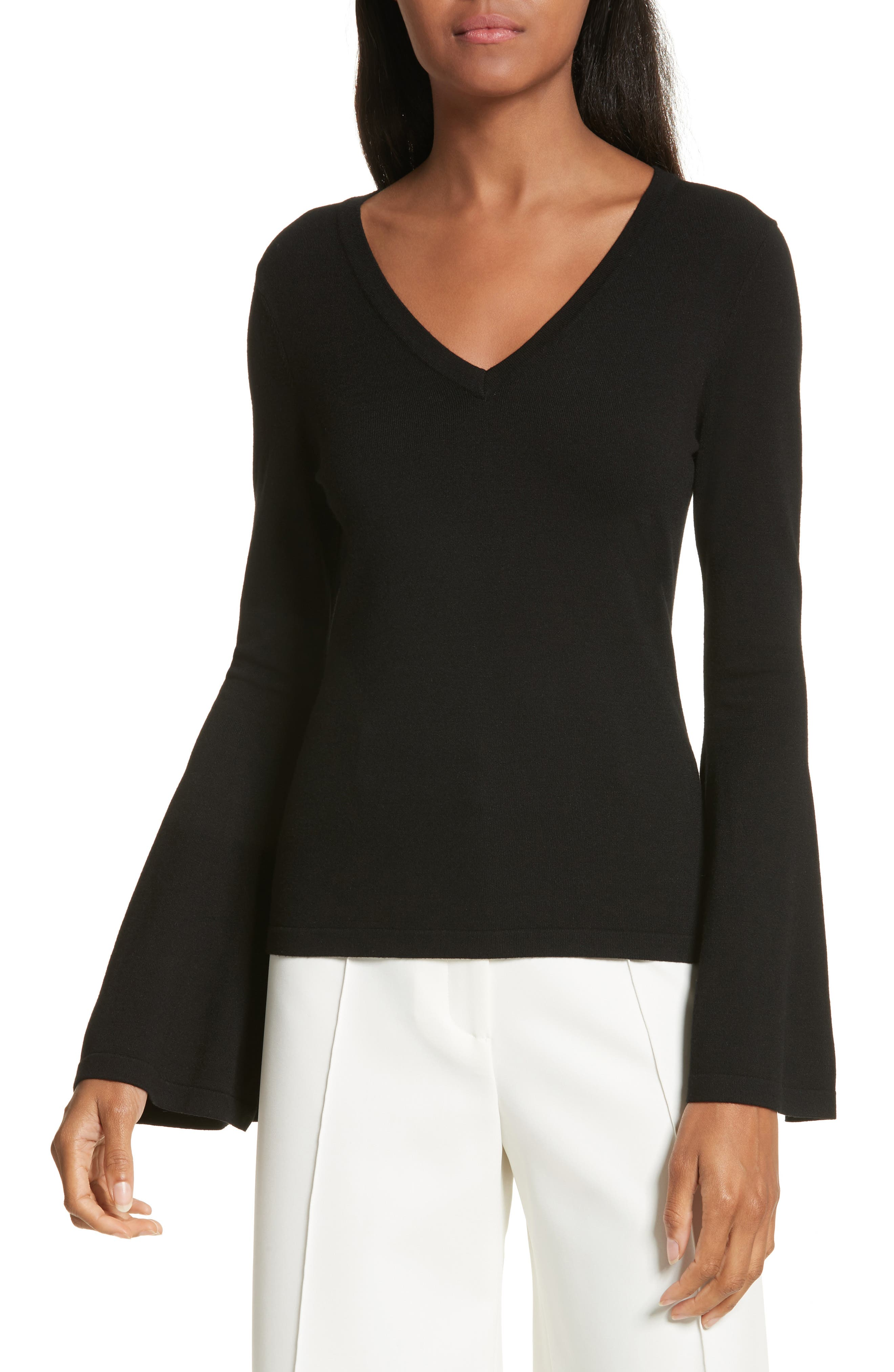 Bell Sleeve V-Neck Sweater,                             Main thumbnail 1, color,