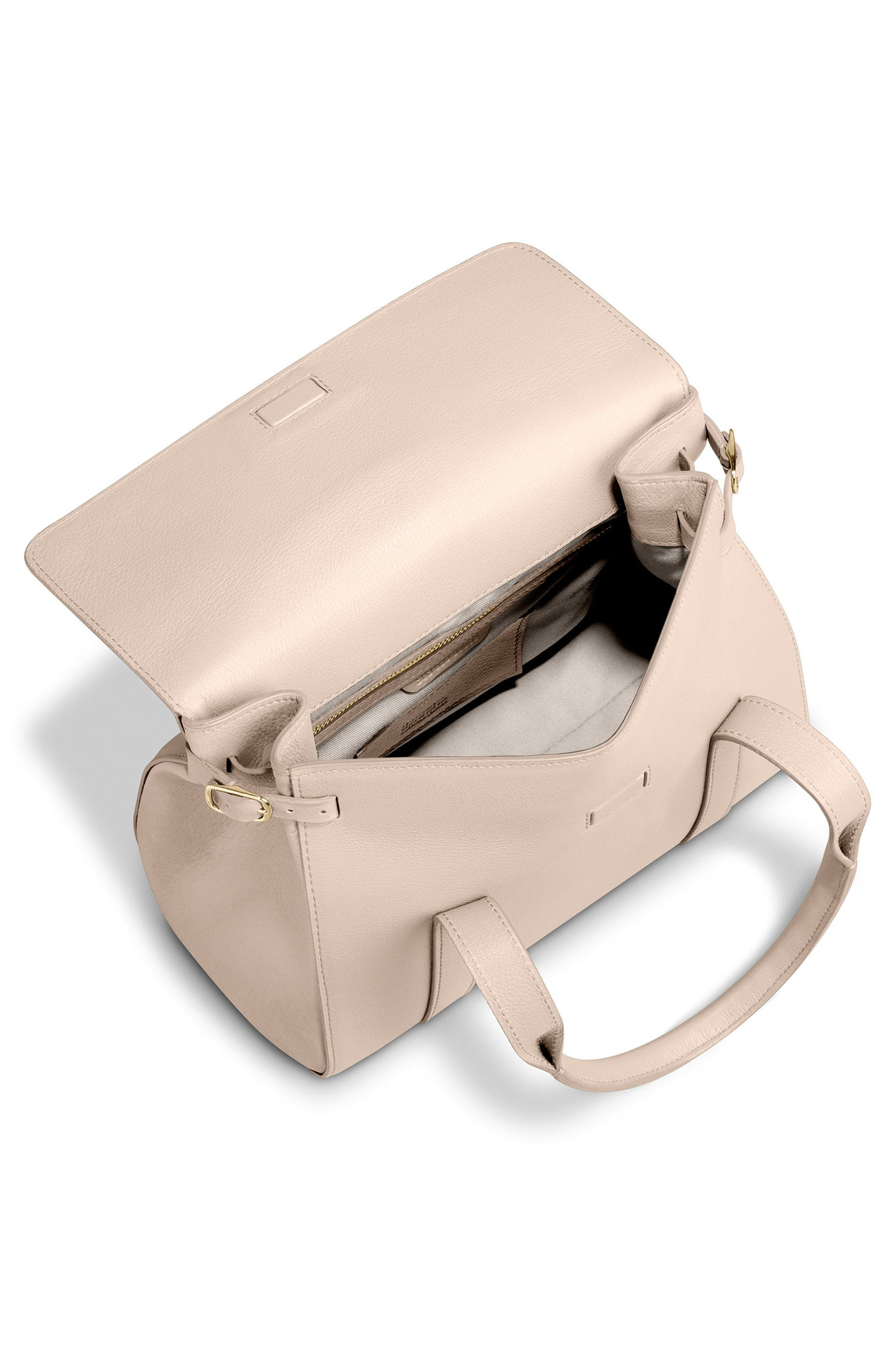 Small Grained Leather Satchel,                             Alternate thumbnail 4, color,                             SOFT BLUSH