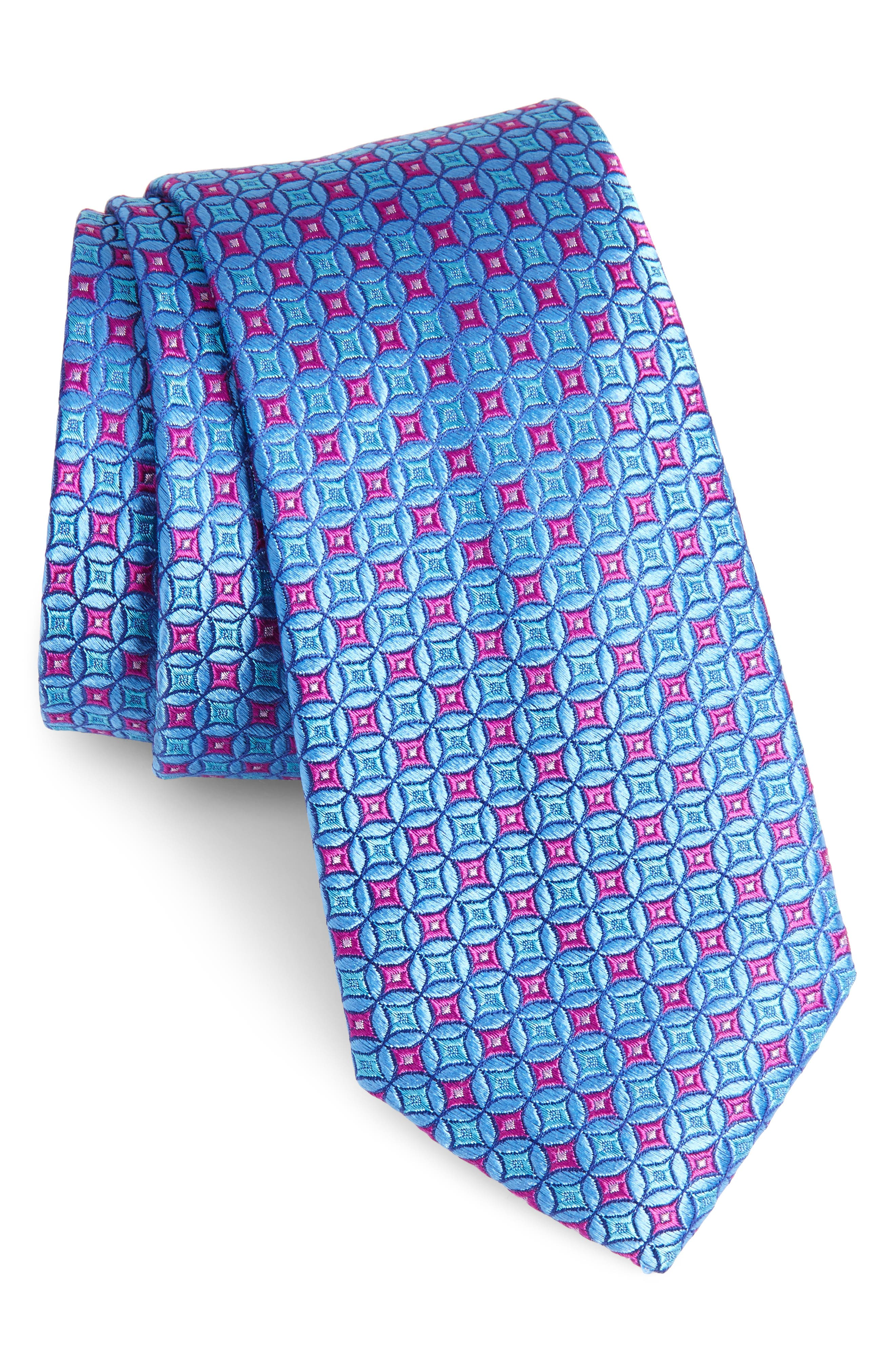 Geometric Silk Tie,                             Main thumbnail 1, color,                             MEDIUM BLUE