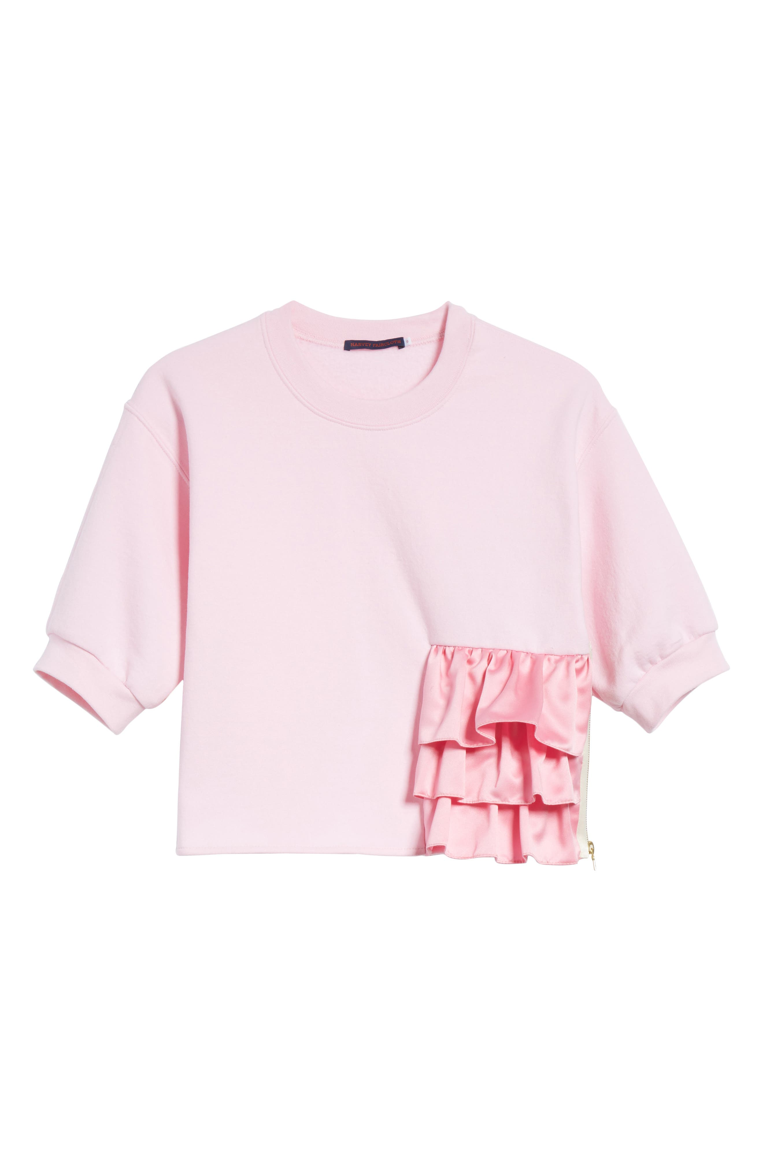Ruffle Detail Crop Sweatshirt,                             Alternate thumbnail 6, color,                             650
