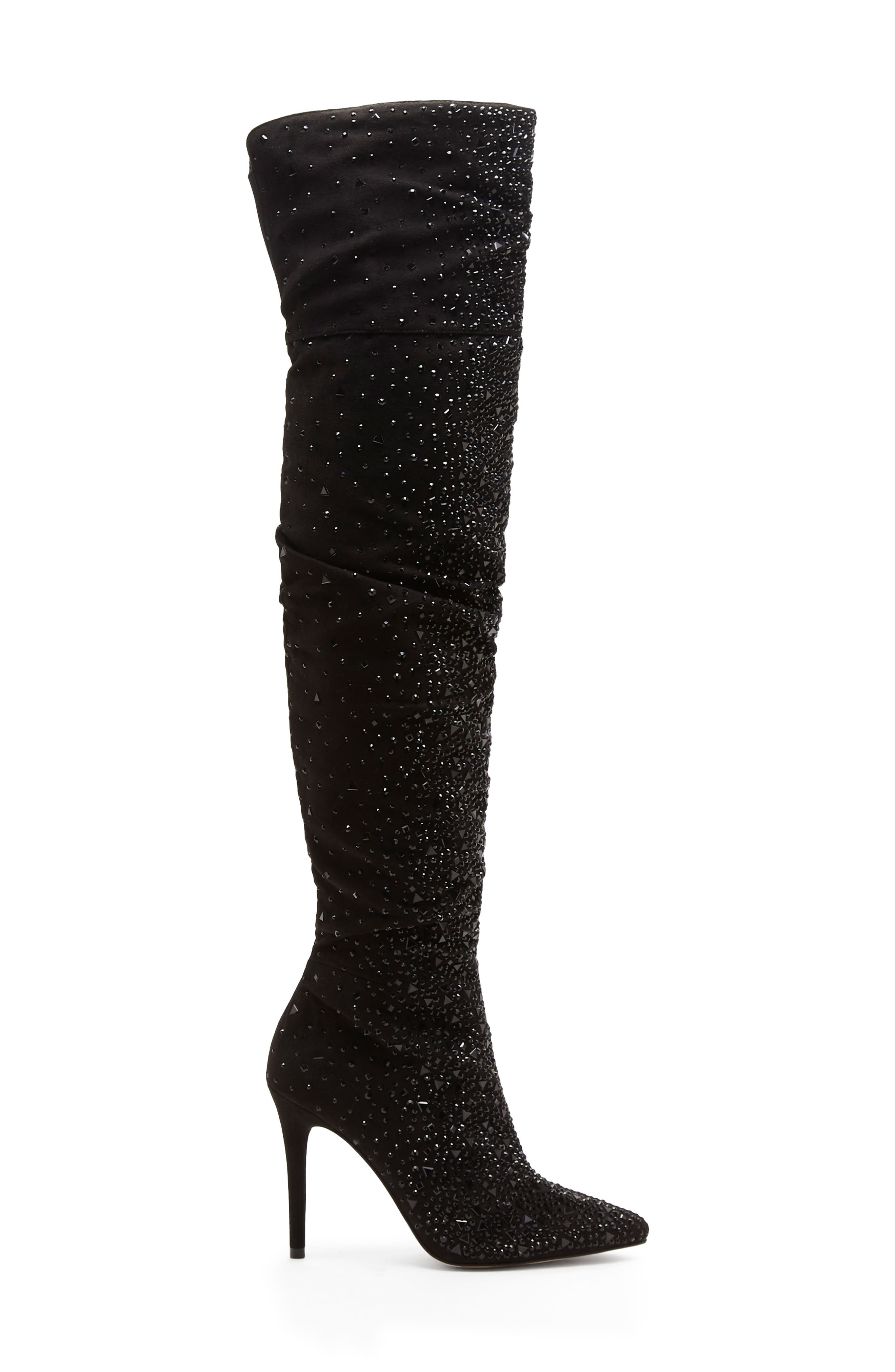 Luxella Over the Knee Boot,                             Alternate thumbnail 3, color,                             BLACK SPARKLES