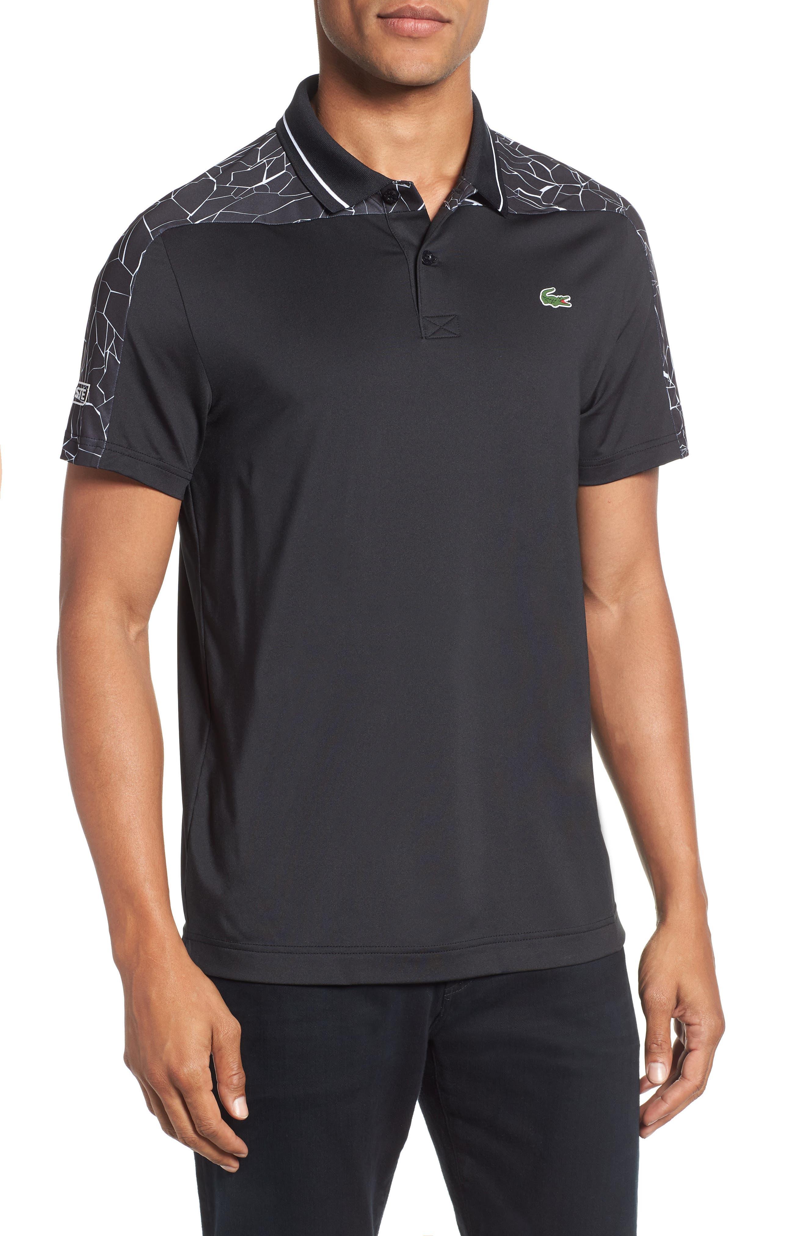 Regular Fit Novak Djokovic Ultra Dry Polo,                             Main thumbnail 1, color,                             BLACK/ WHITE