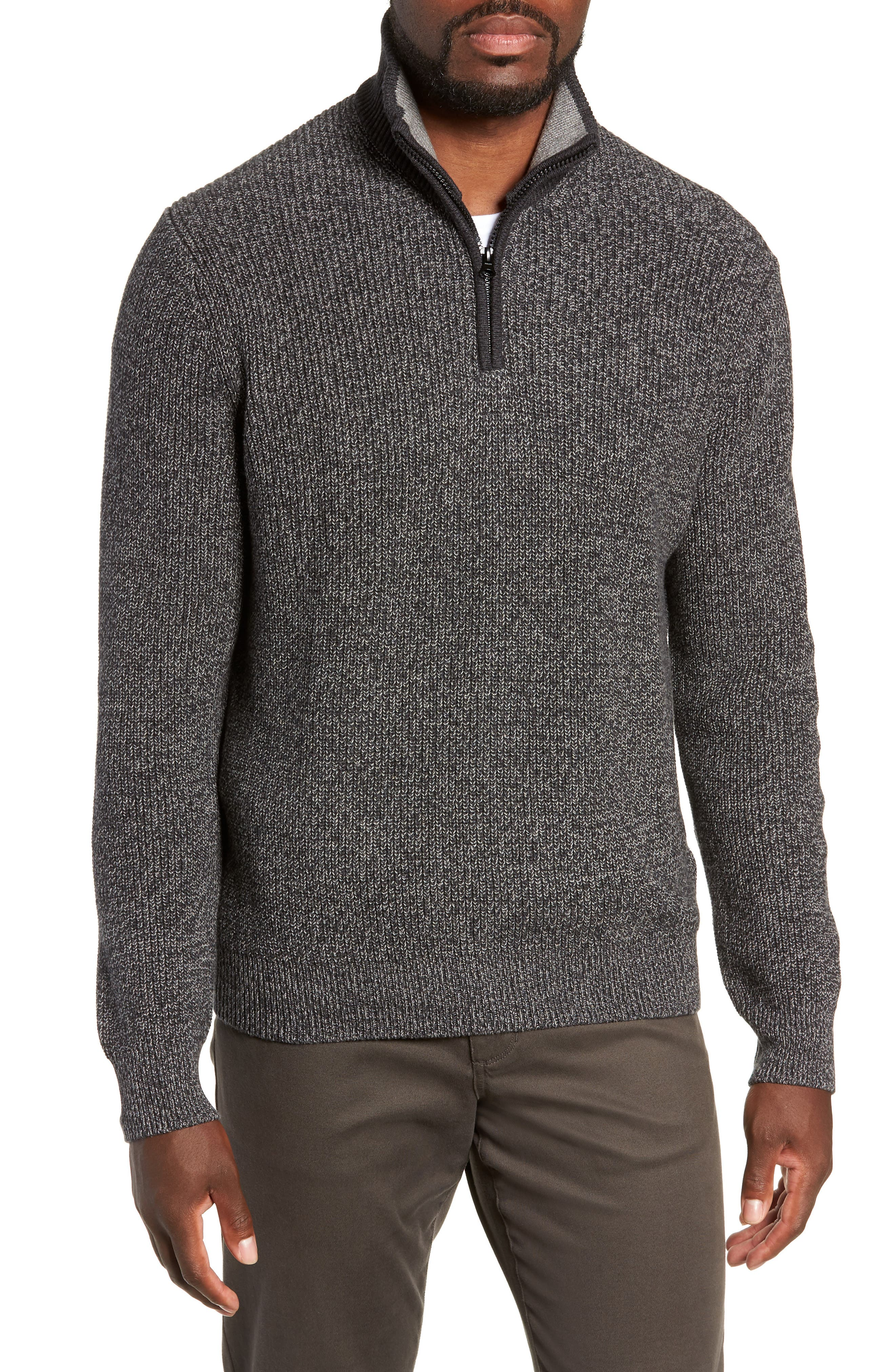 ZACHARY PRELL Fillmore Quarter Zip Sweater in Charcoal