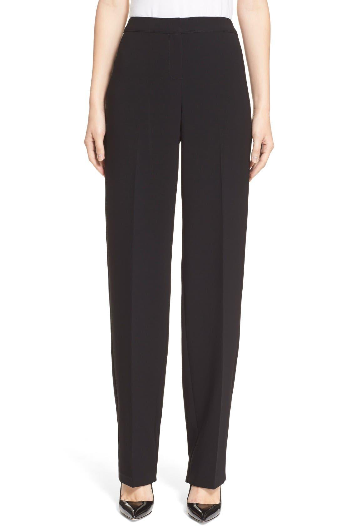 Diana Straight Leg Crepe Marocain Pants,                         Main,                         color, CAVIAR