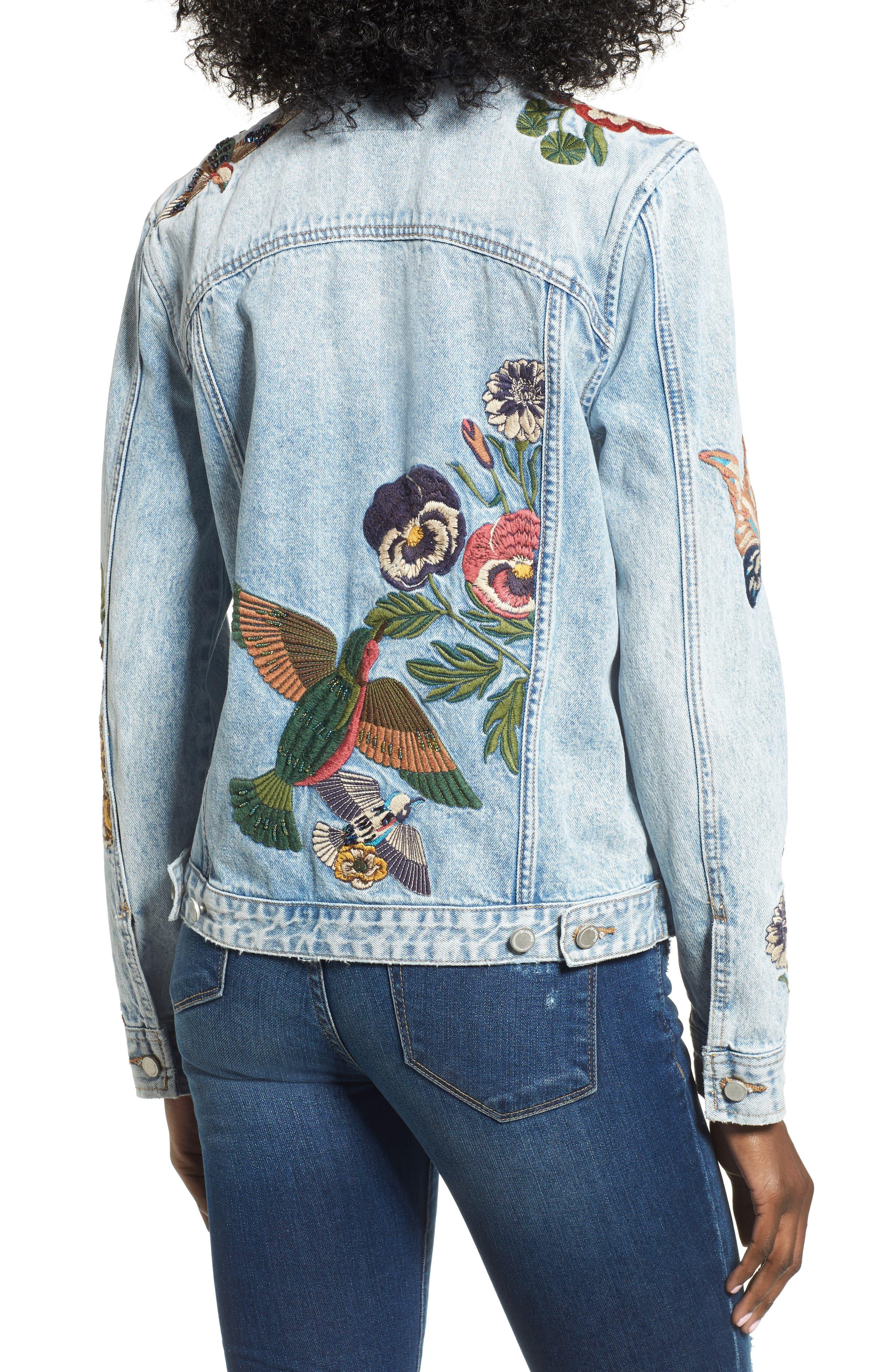 Embroidered Denim Jacket,                             Alternate thumbnail 2, color,                             400