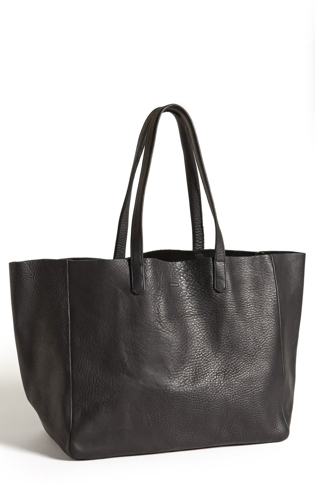 Leather Tote,                             Main thumbnail 1, color,                             001