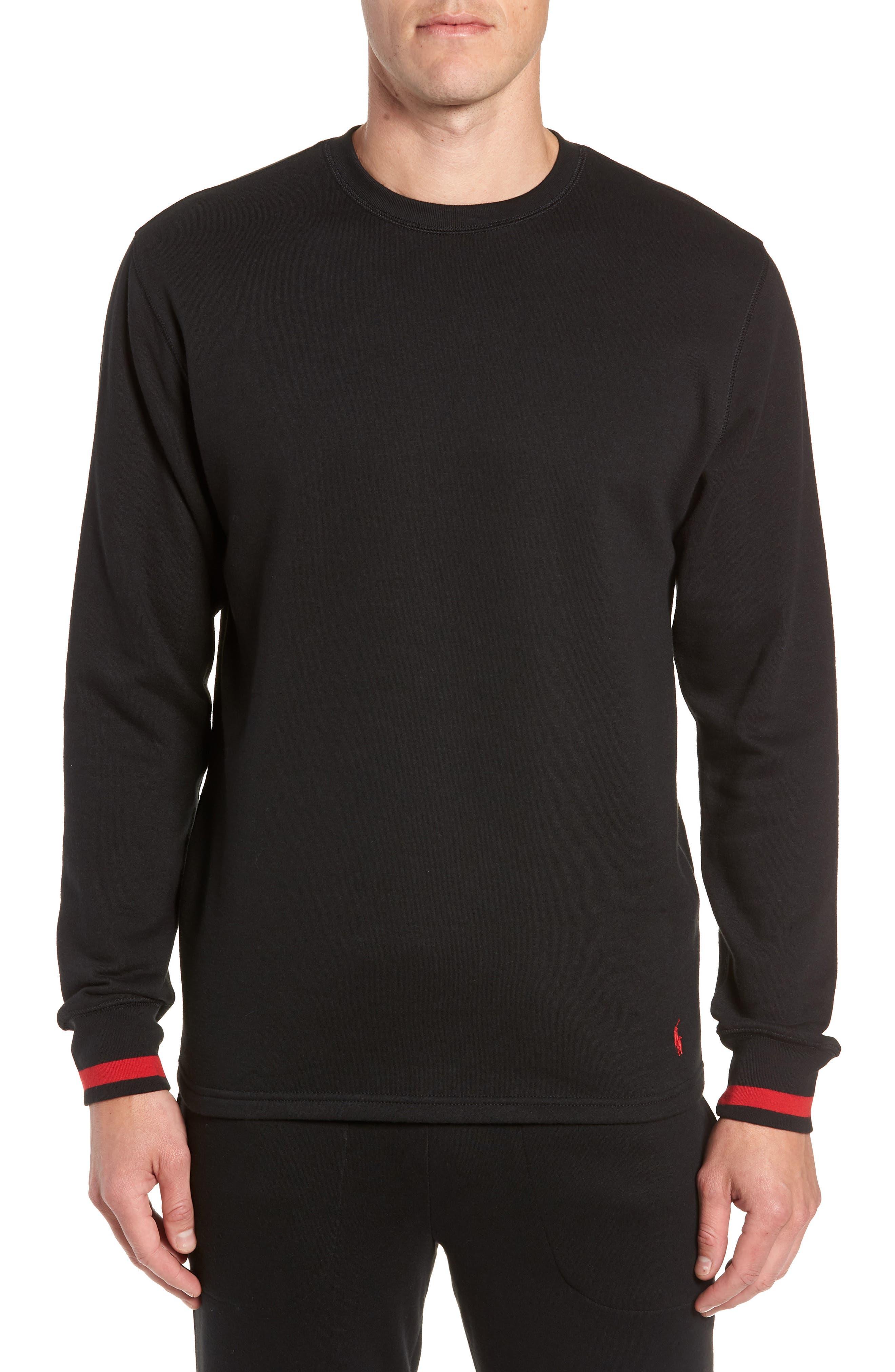 POLO RALPH LAUREN,                             Brushed Jersey Cotton Blend Crewneck Sweatshirt,                             Main thumbnail 1, color,                             POLO BLACK