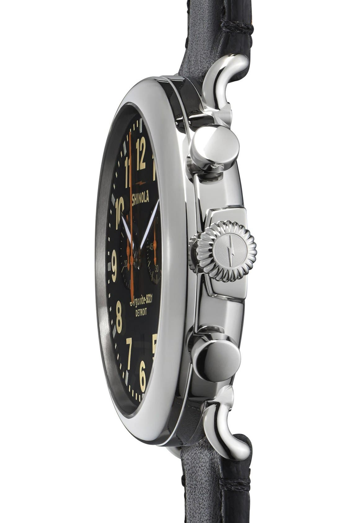 The Runwell Chrono Leather Strap Watch, 47mm,                             Alternate thumbnail 4, color,                             BLACK