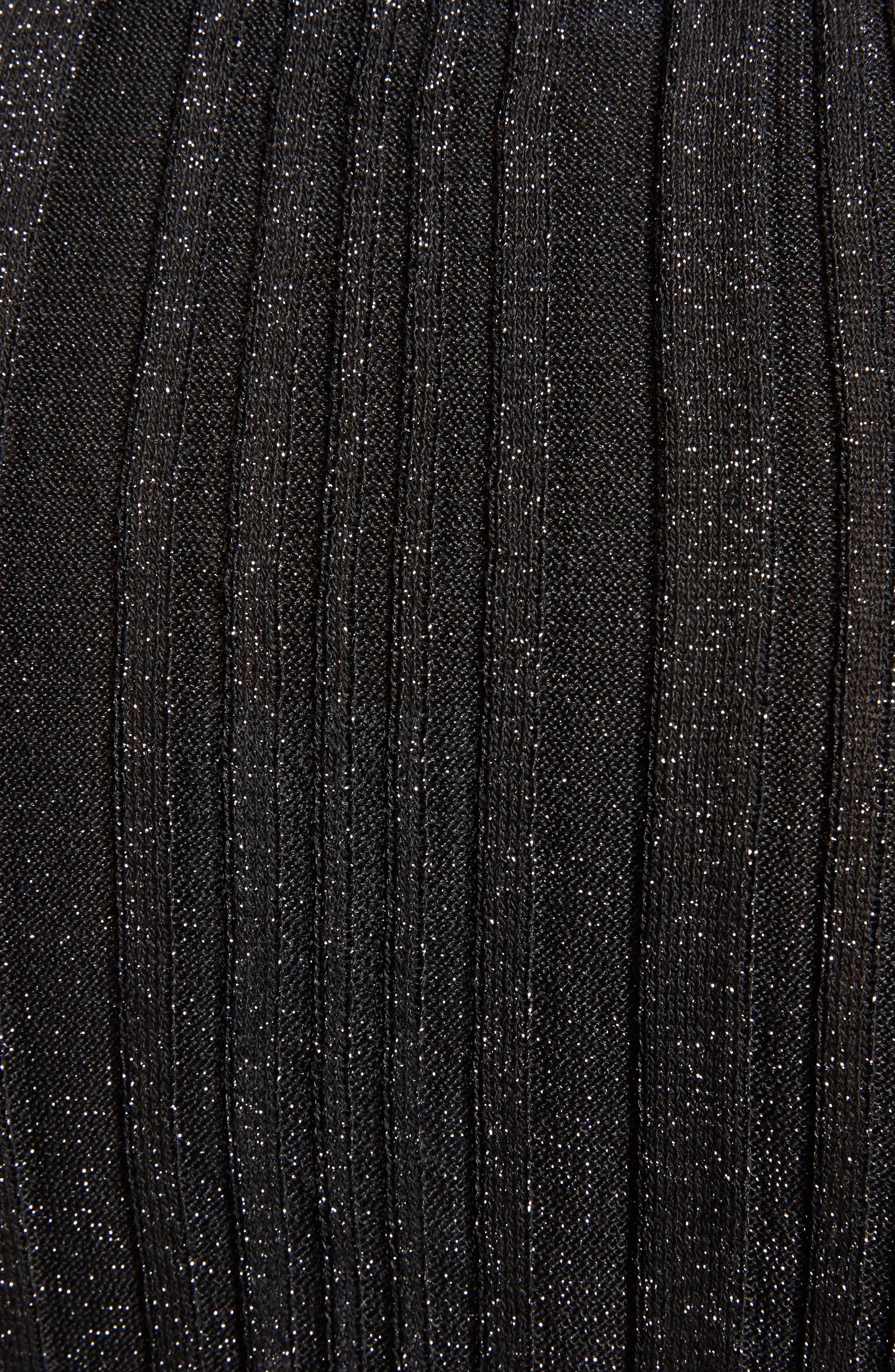 Lurex<sup>®</sup> Metallic Rib Knit Cardigan,                             Alternate thumbnail 5, color,                             001