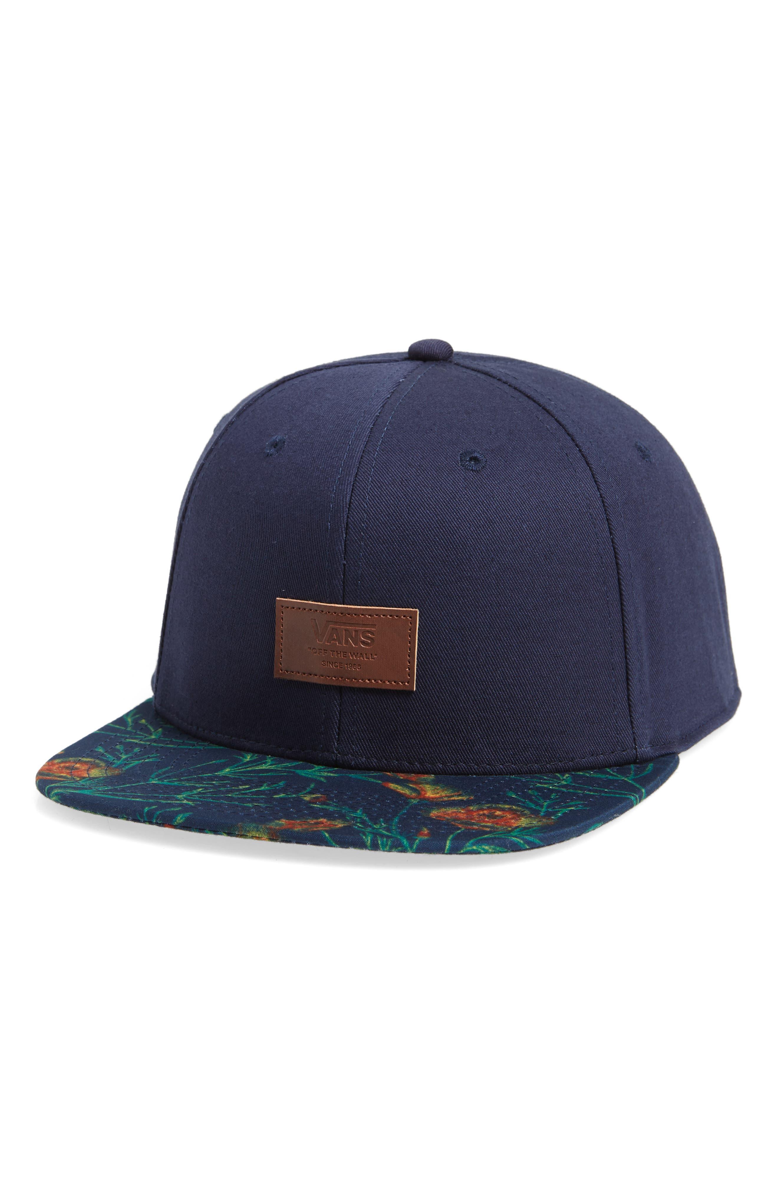 Allover It Flat Brim Cap,                         Main,                         color, DRESS BLUES/ WILDFLOWER