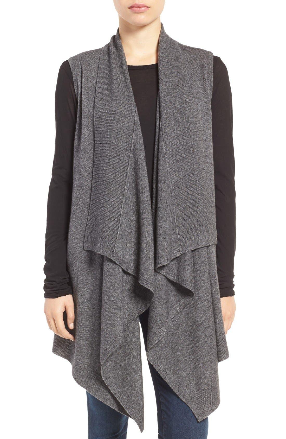 Wool & Cashmere Drape Front Sweater Vest,                             Main thumbnail 4, color,