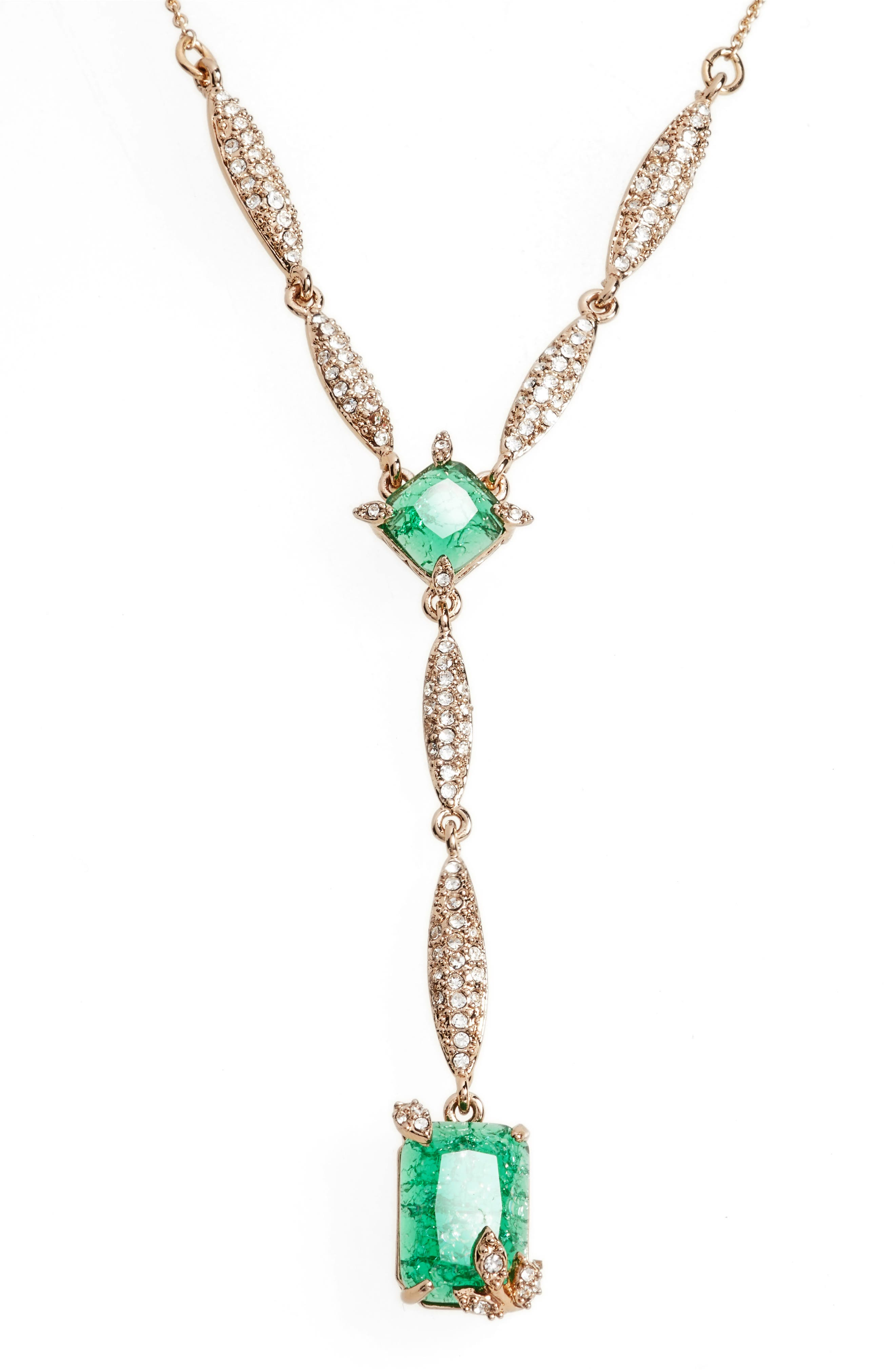 Y-Necklace,                             Main thumbnail 1, color,                             EMERALD/ GOLD