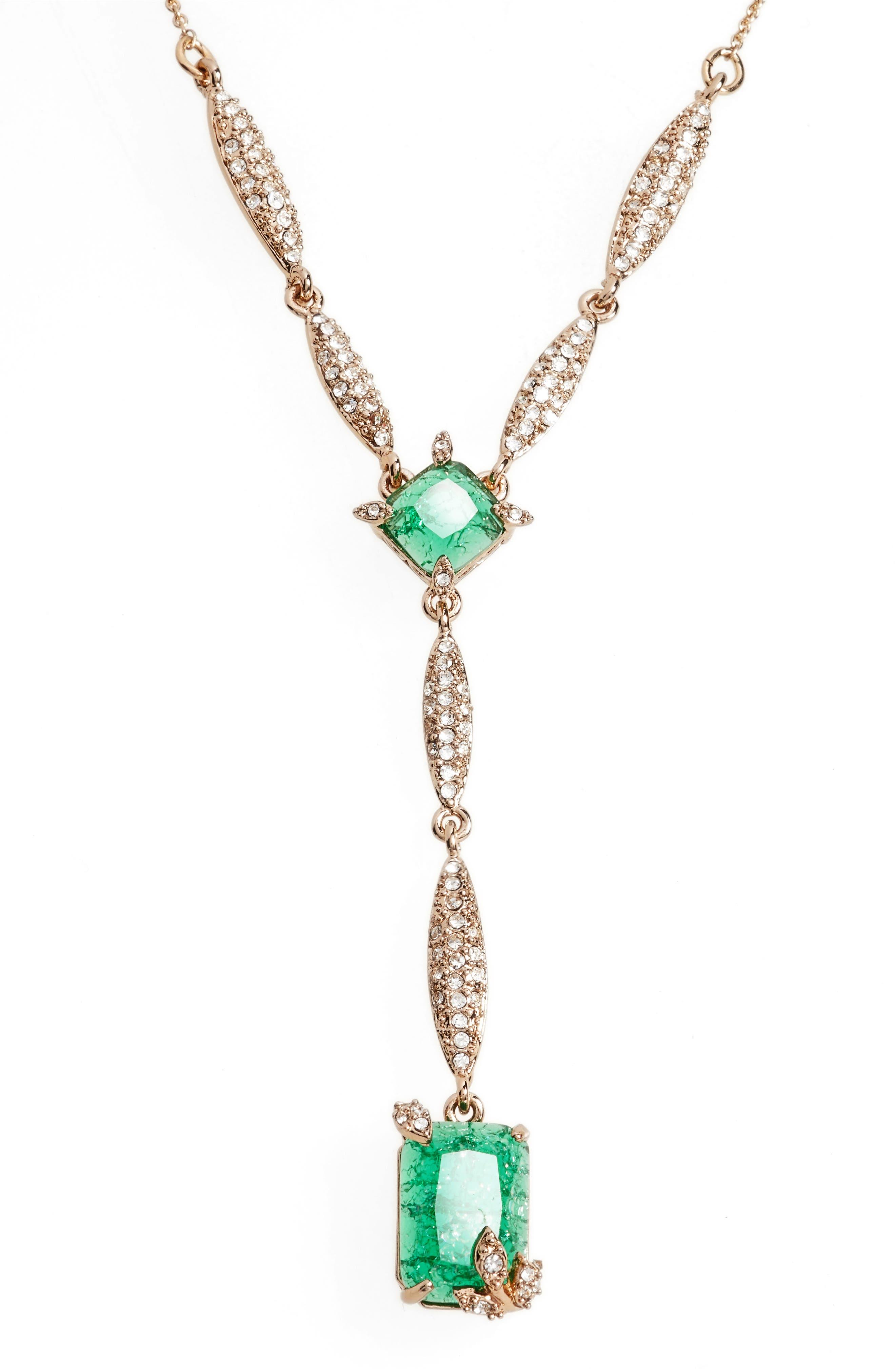 Y-Necklace,                         Main,                         color, EMERALD/ GOLD
