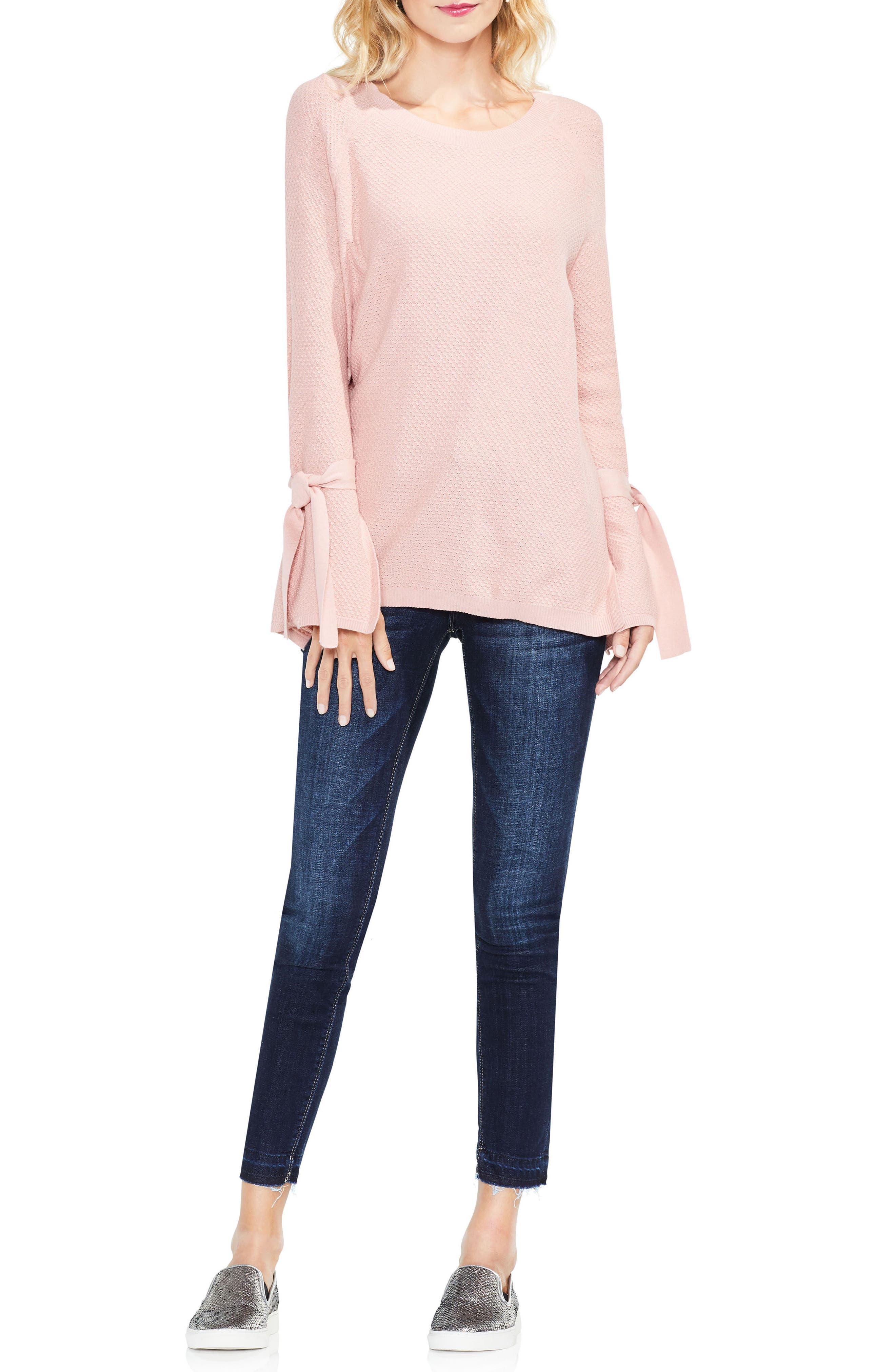 Texture Stitch Tie-Sleeve Top,                             Alternate thumbnail 15, color,