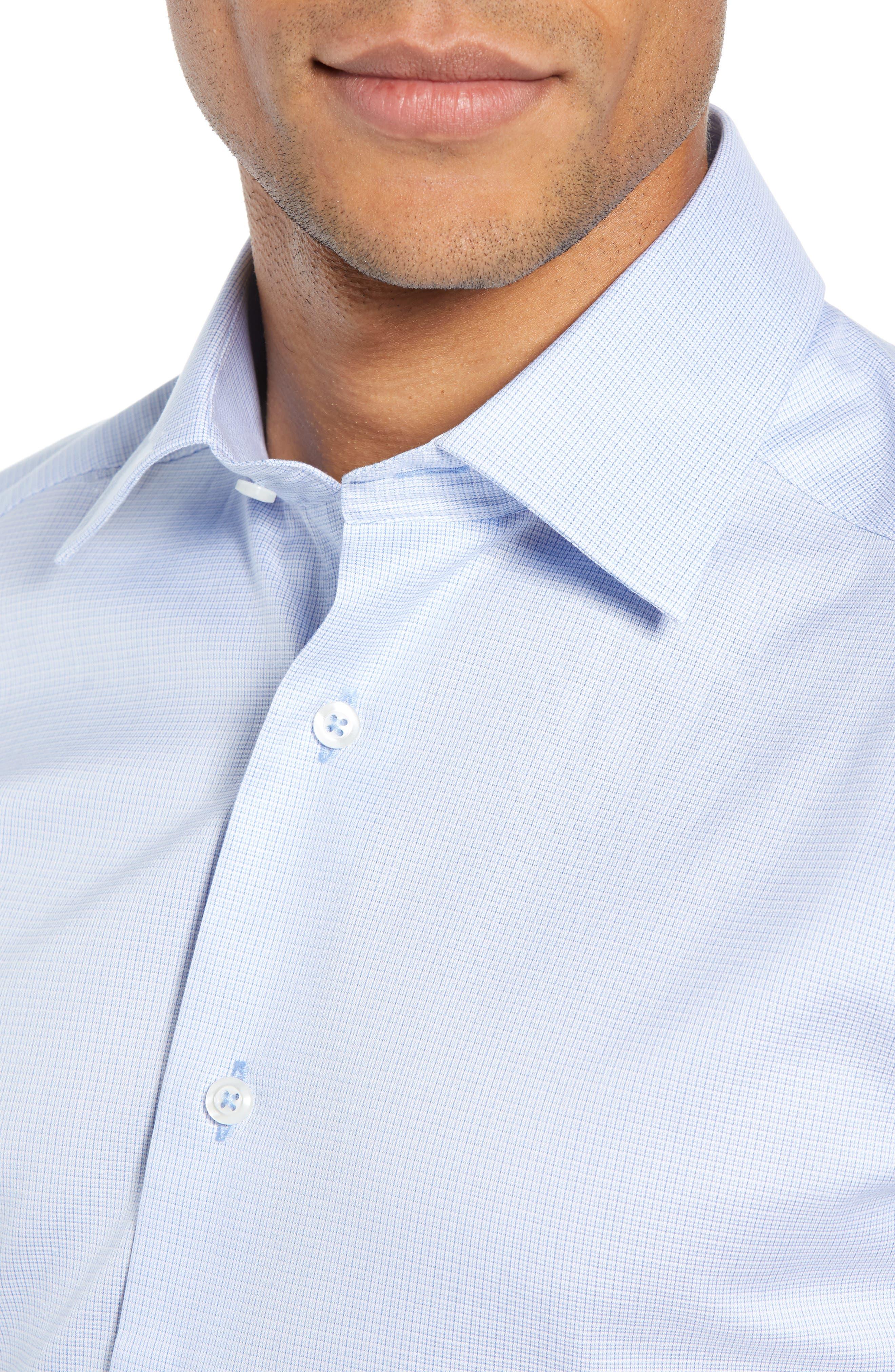 Slim Fit Micro Pattern Dress Shirt,                             Alternate thumbnail 2, color,                             BLUE