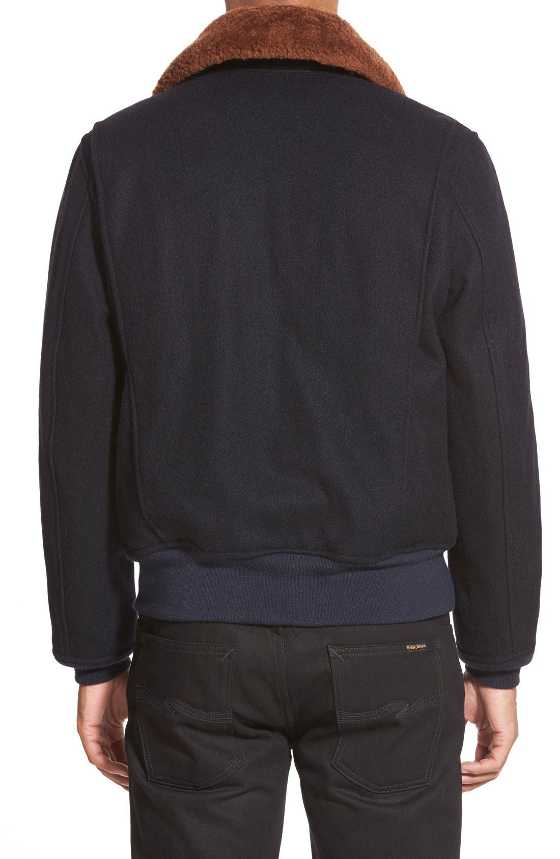 SchottNYC'G-1' Zip Front Bomber with Genuine Shearling Collar,                             Alternate thumbnail 8, color,                             410