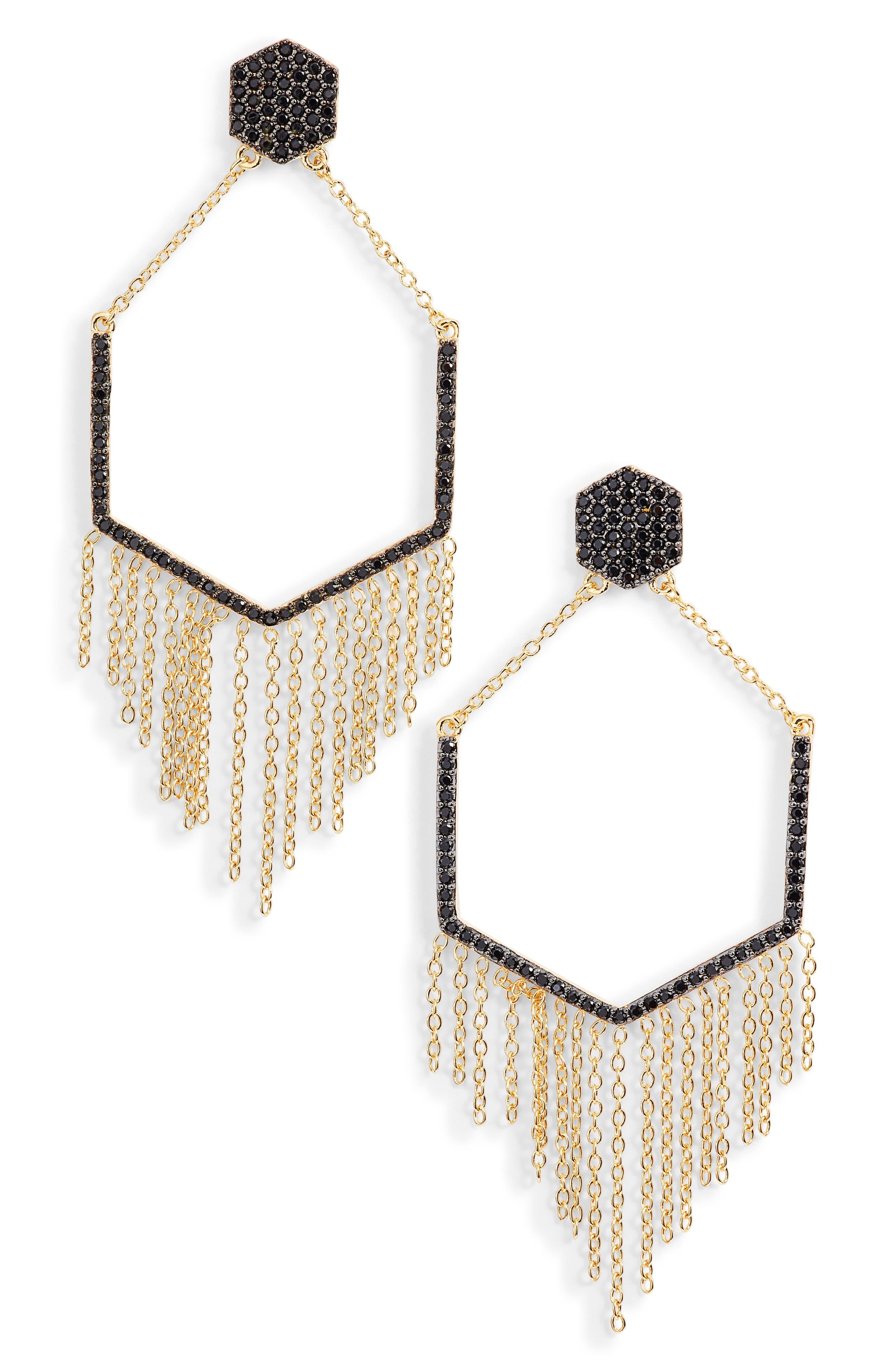 Geo Daze Fringe Drop Earrings,                         Main,                         color, GOLD/ BLACK