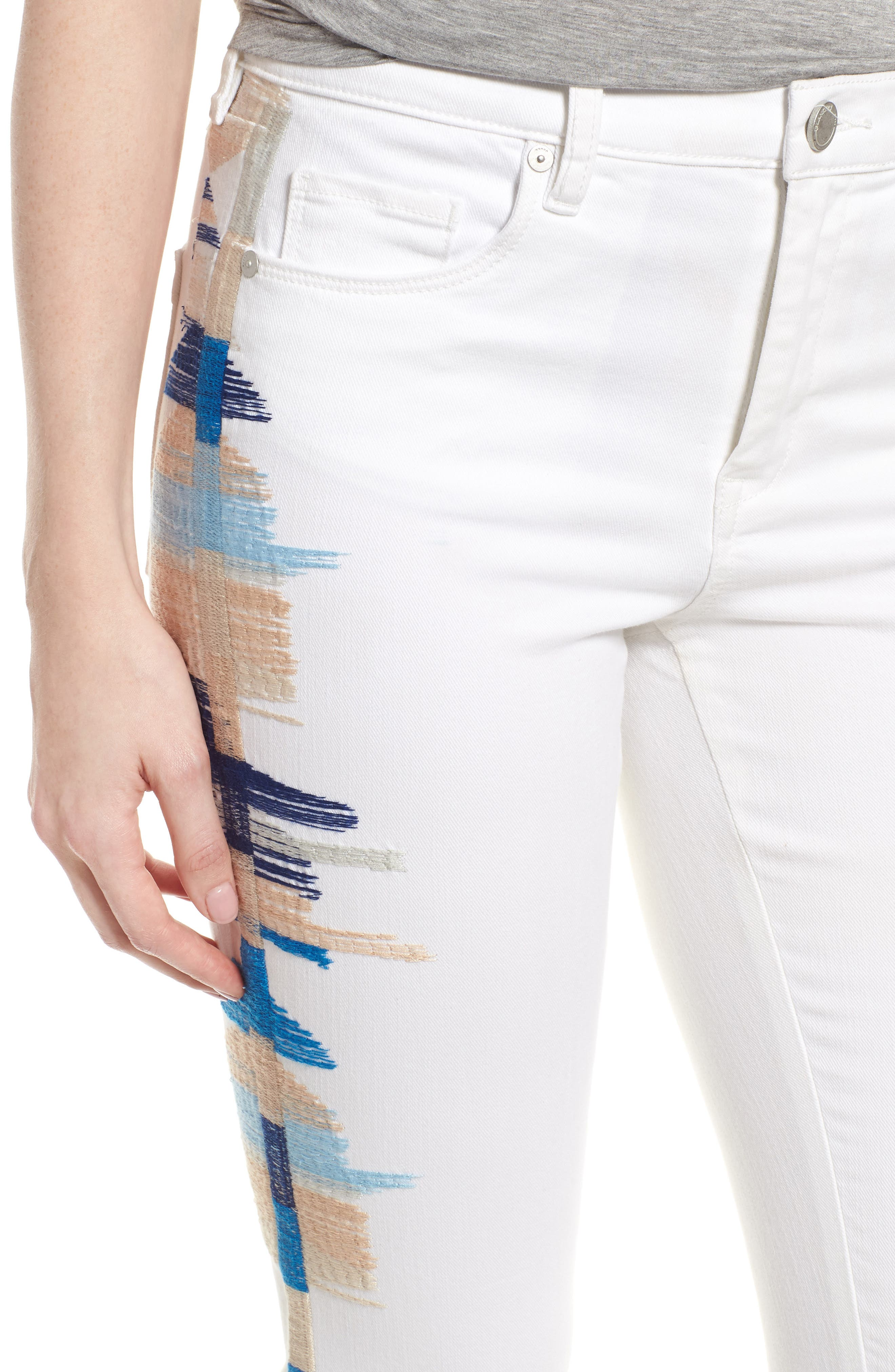 Bond Embroidered Skinny Jeans,                             Alternate thumbnail 4, color,                             110